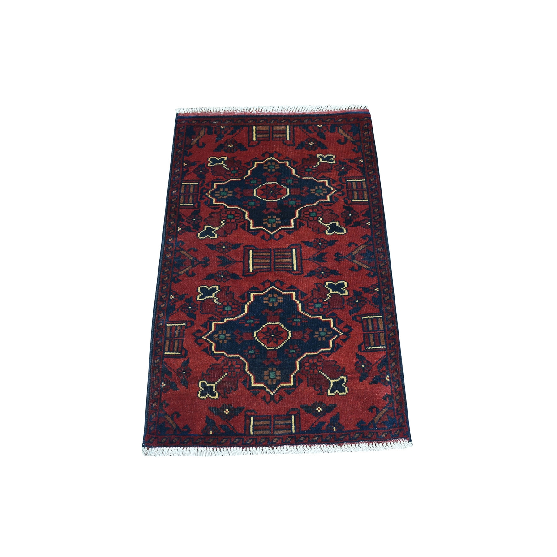 "1'9""x3'2"" Deep and Saturated Red Geometric Afghan Andkhoy Pure Wool Hand Woven Oriental Rug"