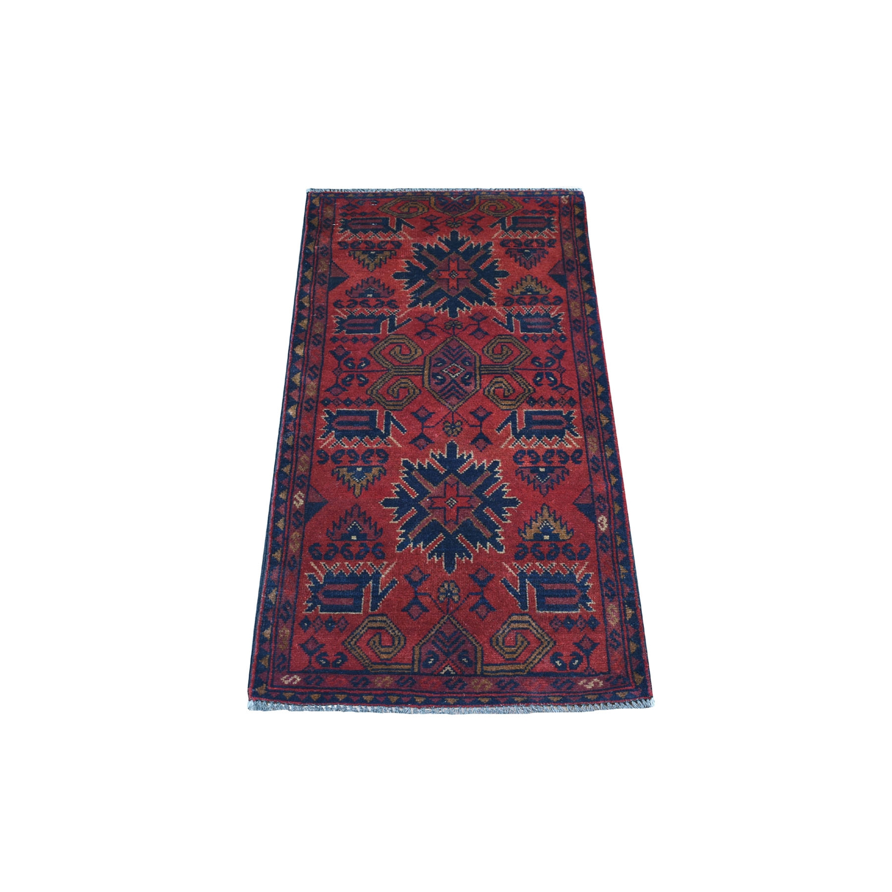 "1'8""x3'9"" Deep and Saturated Red Geometric Afghan Andkhoy Pure Wool Hand Woven Oriental Rug"