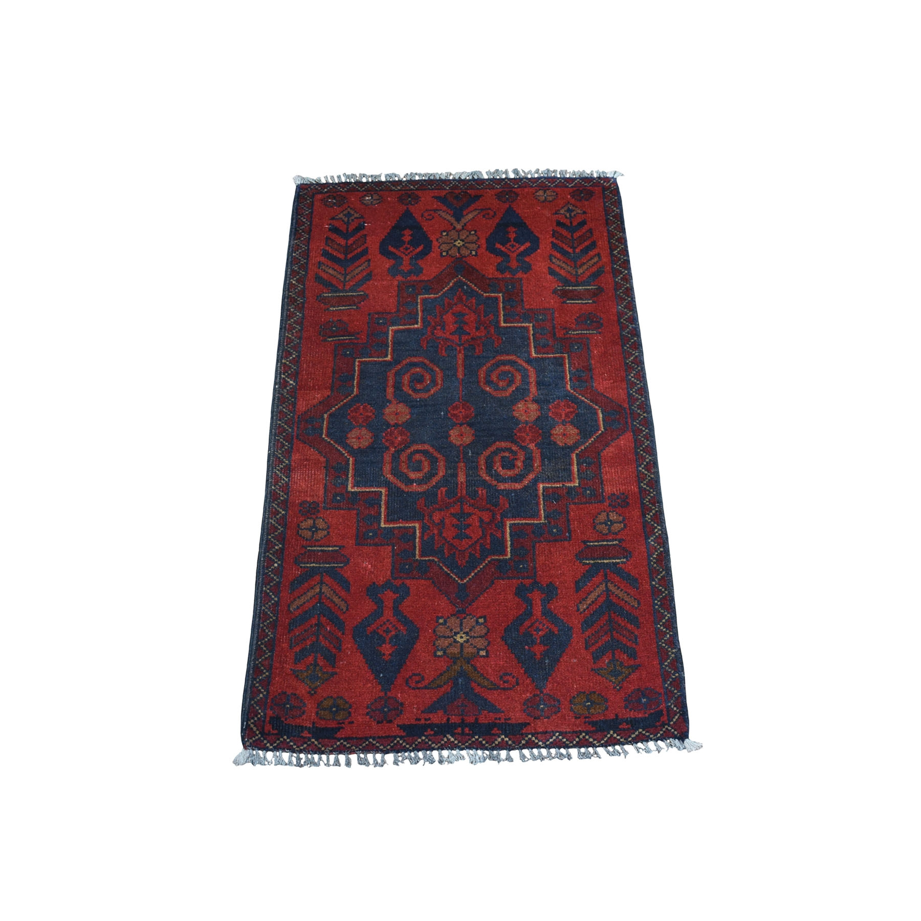 "1'9""x3'3"" Deep and Saturated Red Tribal Afghan Andkhoy Pure Wool Hand Woven Oriental Rug"