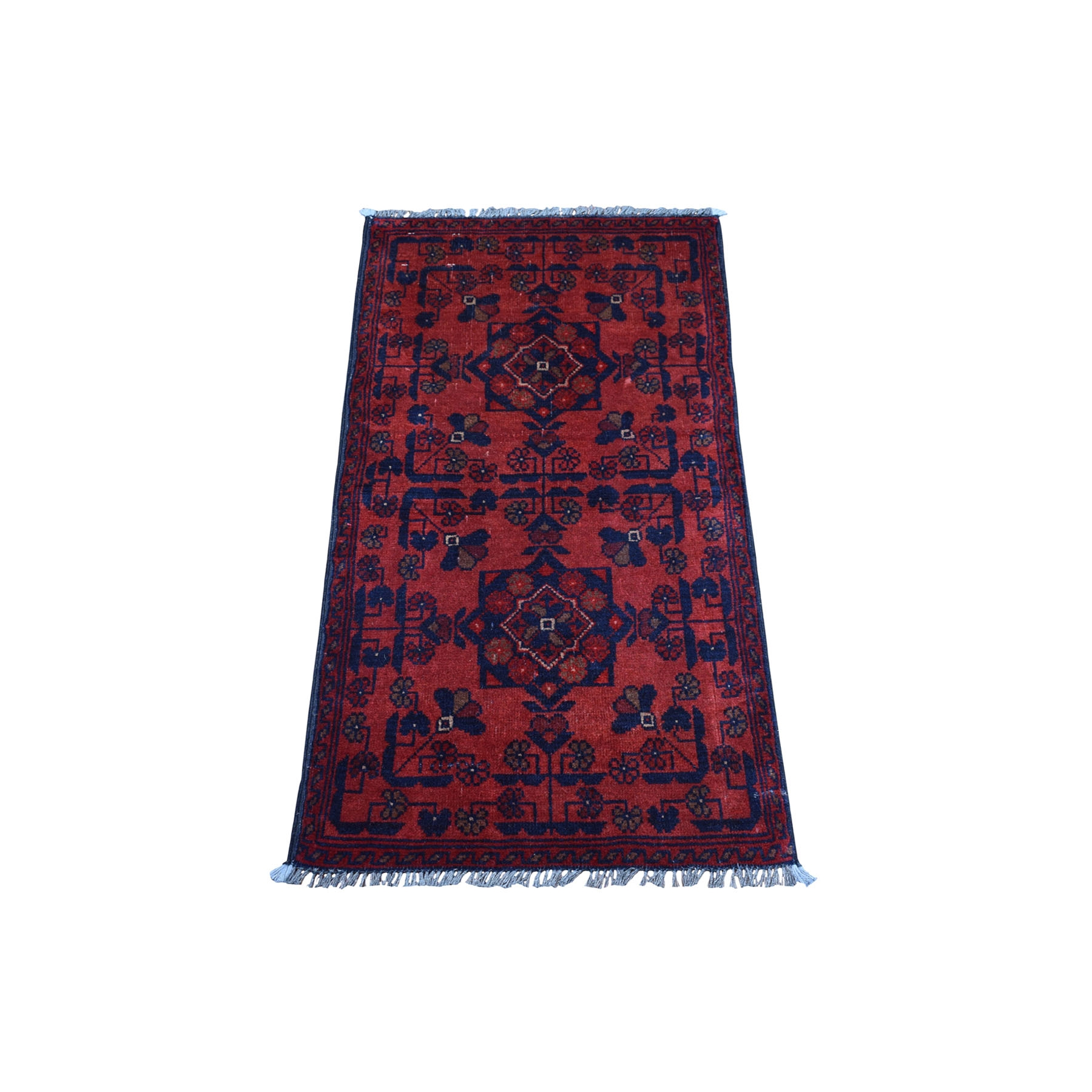 "1'8""x3'3"" Deep and Saturated Red Geometric Afghan Andkhoy Pure Wool Hand Woven Oriental Rug"