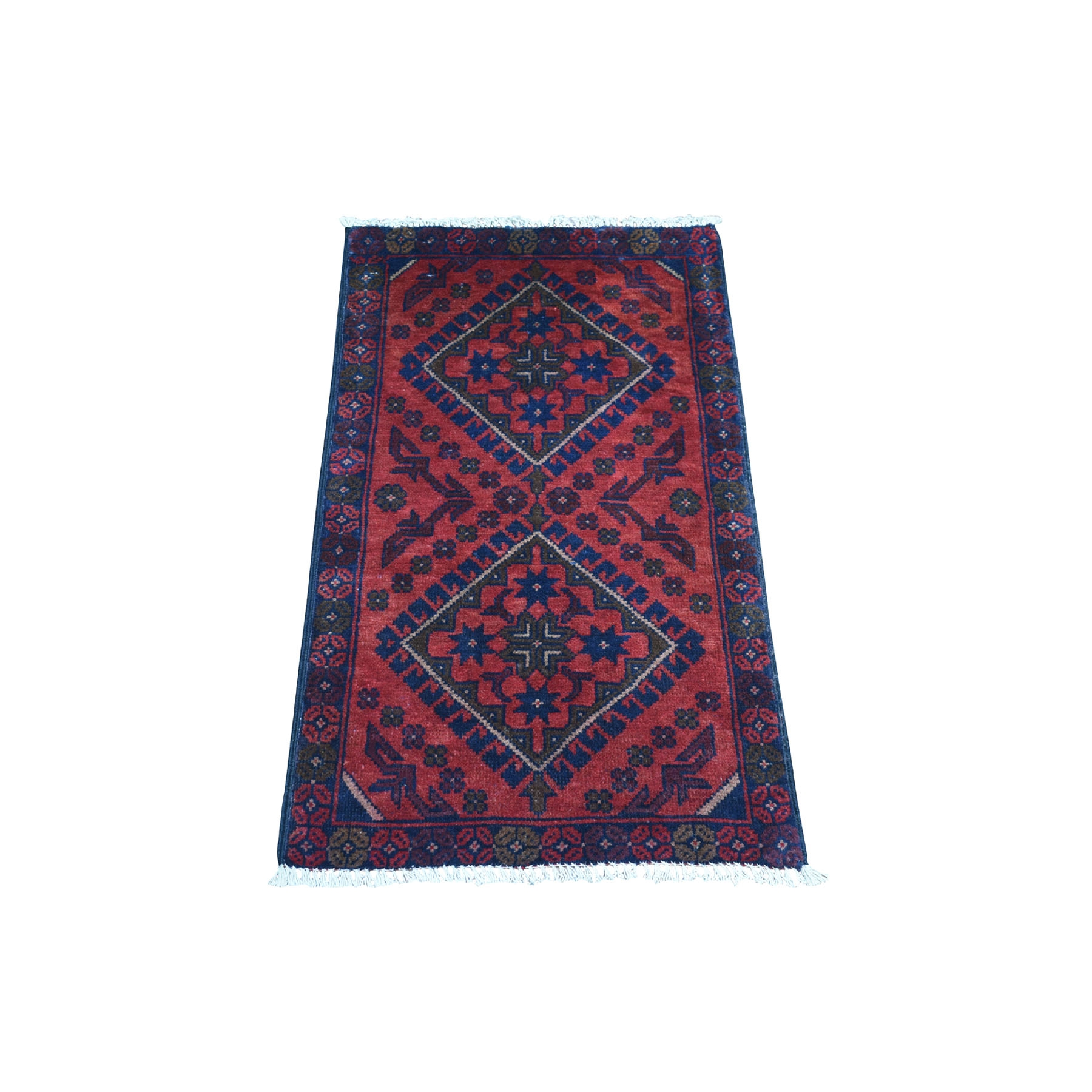 "1'7""x3'2"" Deep and Saturated Red Geometric Afghan Andkhoy Pure Wool Hand Woven Oriental Rug"