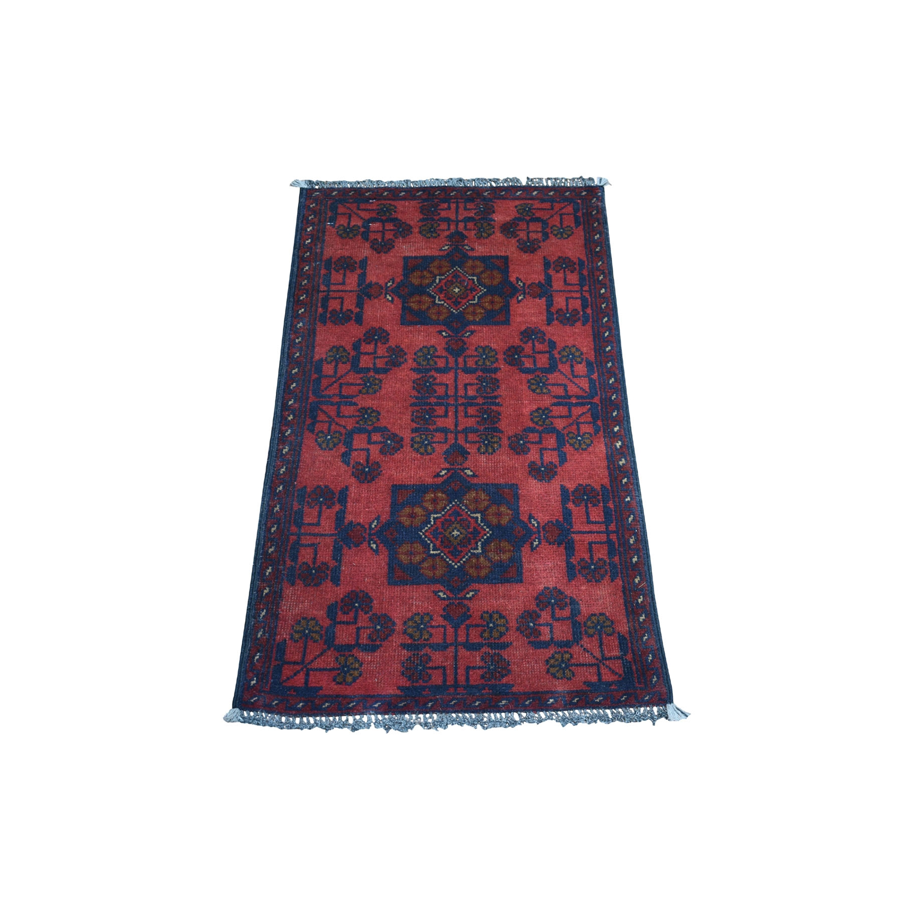 "1'7""x3'3"" Deep and Saturated Red Geometric Afghan Andkhoy Pure Wool Hand Woven Oriental Rug"