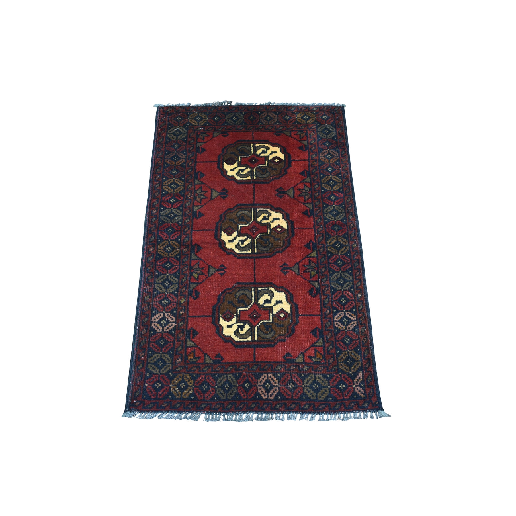 "1'8""x3'1"" Deep and Saturated Red Elephant Feet Design Afghan Andkhoy Pure Wool Hand Woven Oriental Rug"