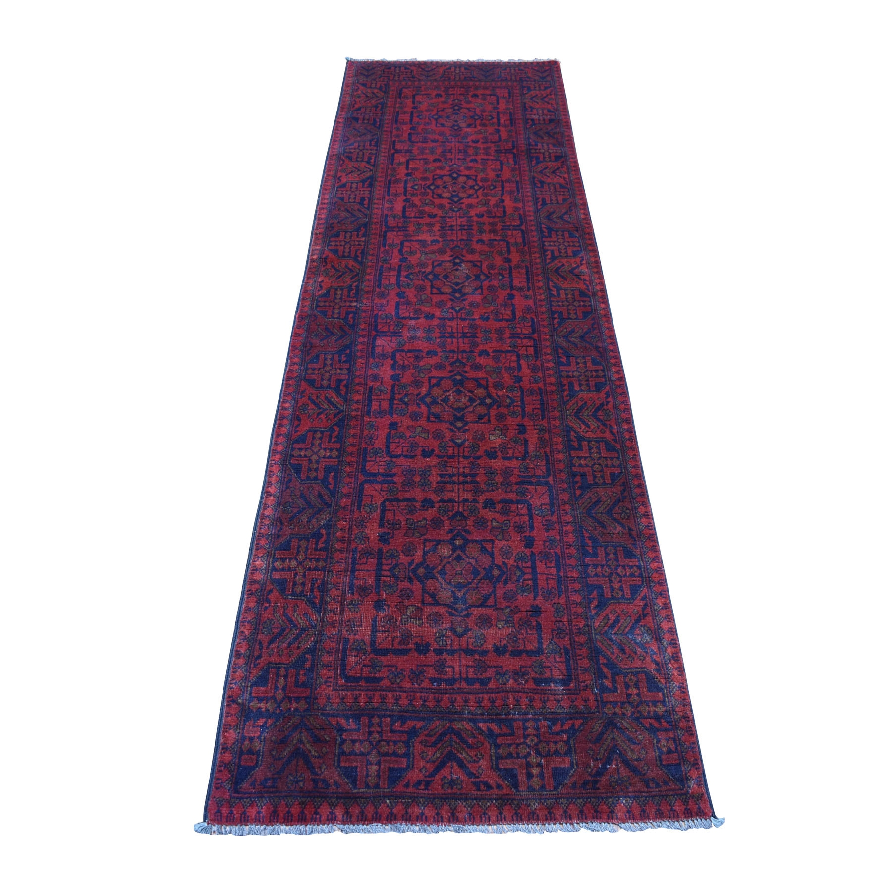 "2'7""x9'6"" Deep and Saturated Red Geometric Afghan Andkhoy Runner Pure Wool Hand Woven Oriental Rug"