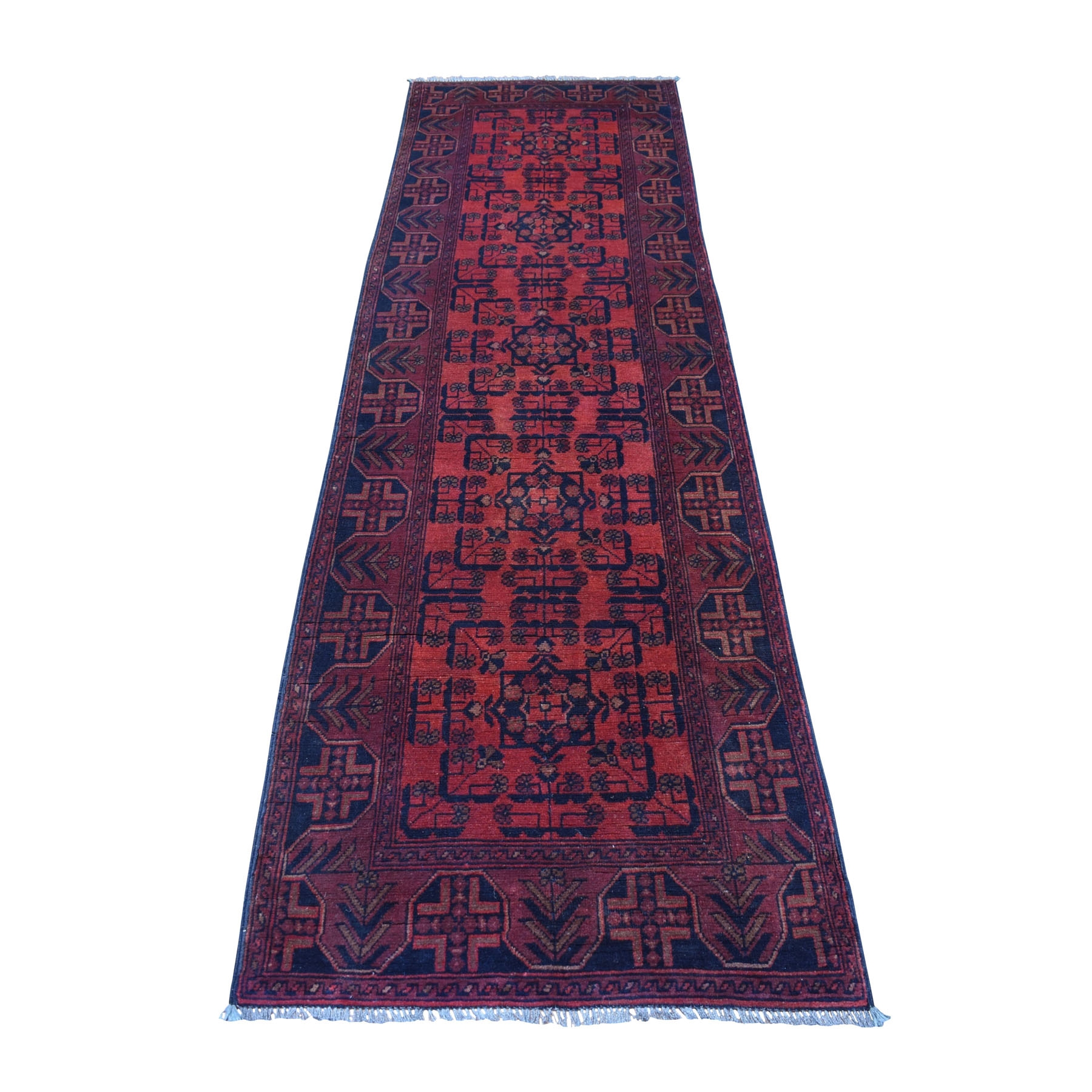 "2'7""x9' Deep and Saturated Red Geometric Afghan Andkhoy Runner Pure Wool Hand Woven Oriental Rug"