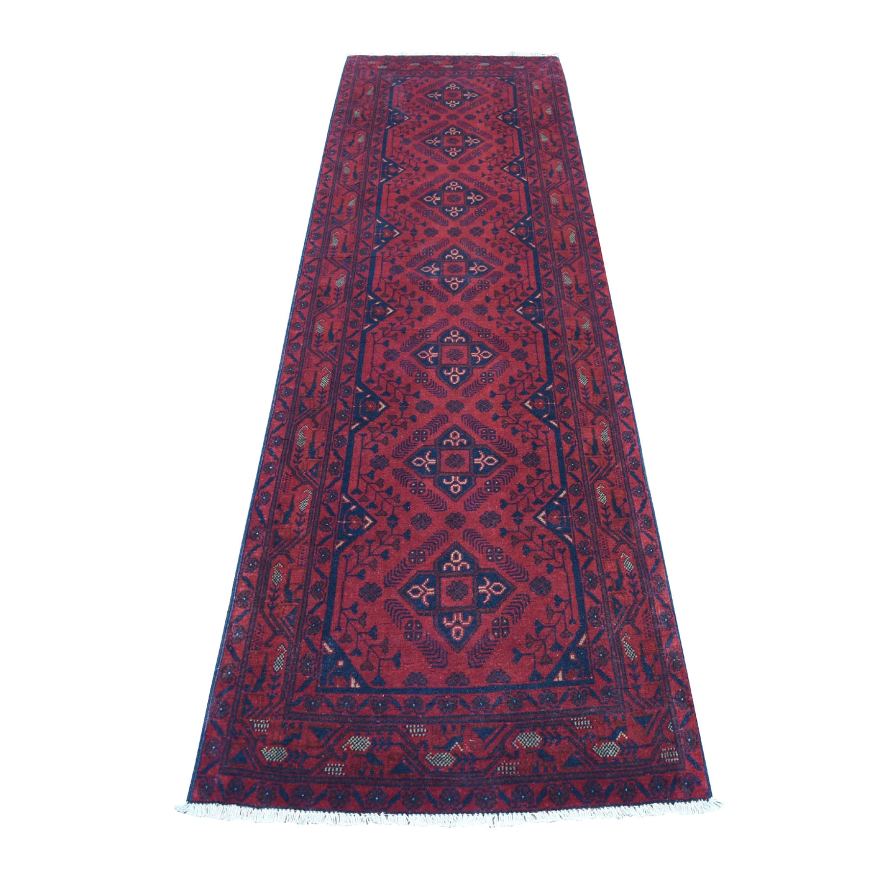 "2'9""x9'8"" Deep and Saturated Red Geometric Afghan Andkhoy Runner Pure Wool Hand Woven Oriental Rug"