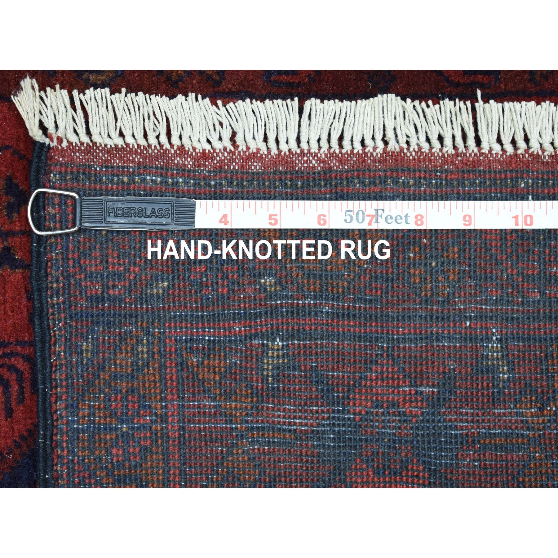 "2'7""x6'3"" Deep and Saturated Red Geometric Afghan Andkhoy Runner Pure Wool Hand Woven Oriental Rug"