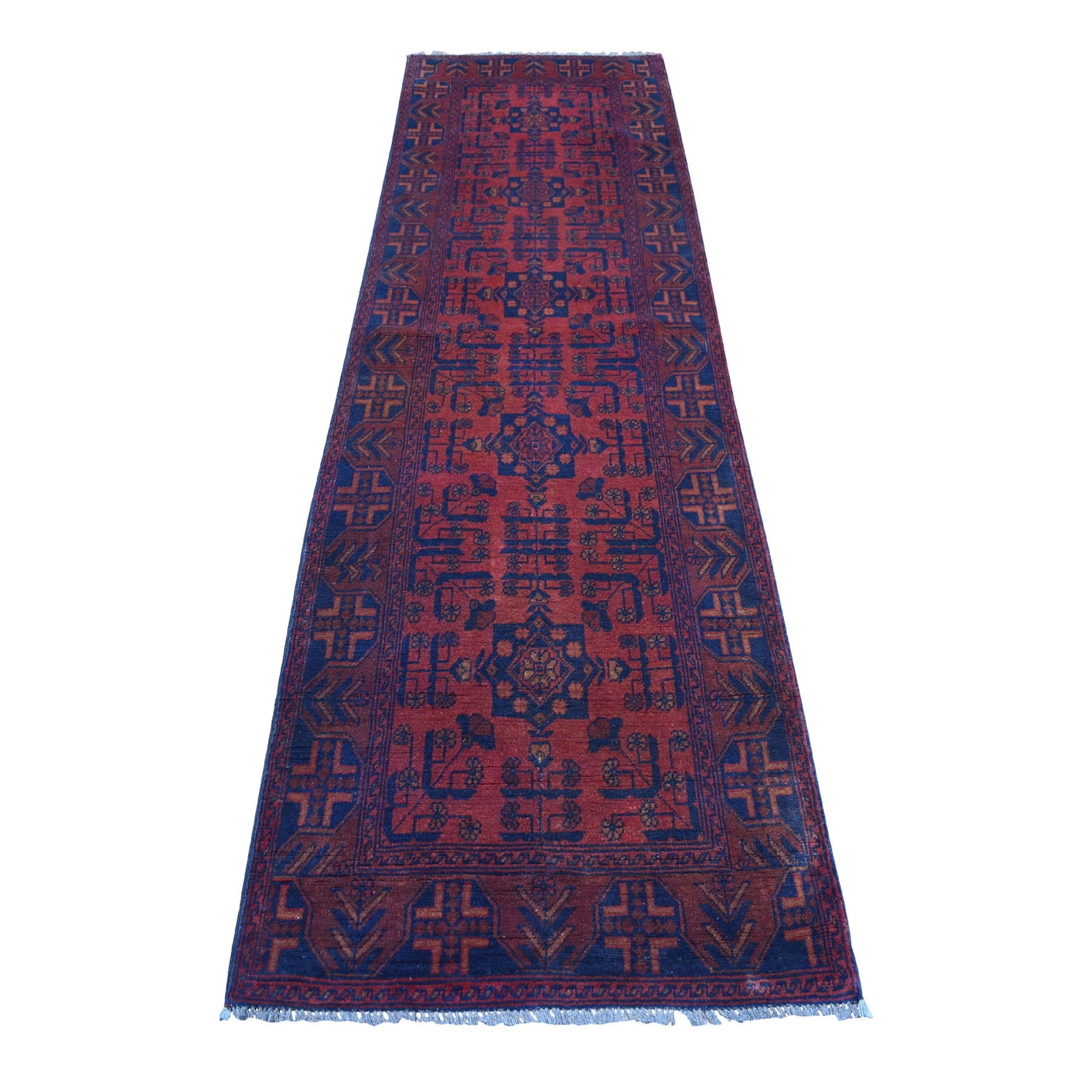 "2'9""x9'3"" Deep and Saturated Red Geometric Afghan Andkhoy Runner Pure Wool Hand Woven Oriental Rug"
