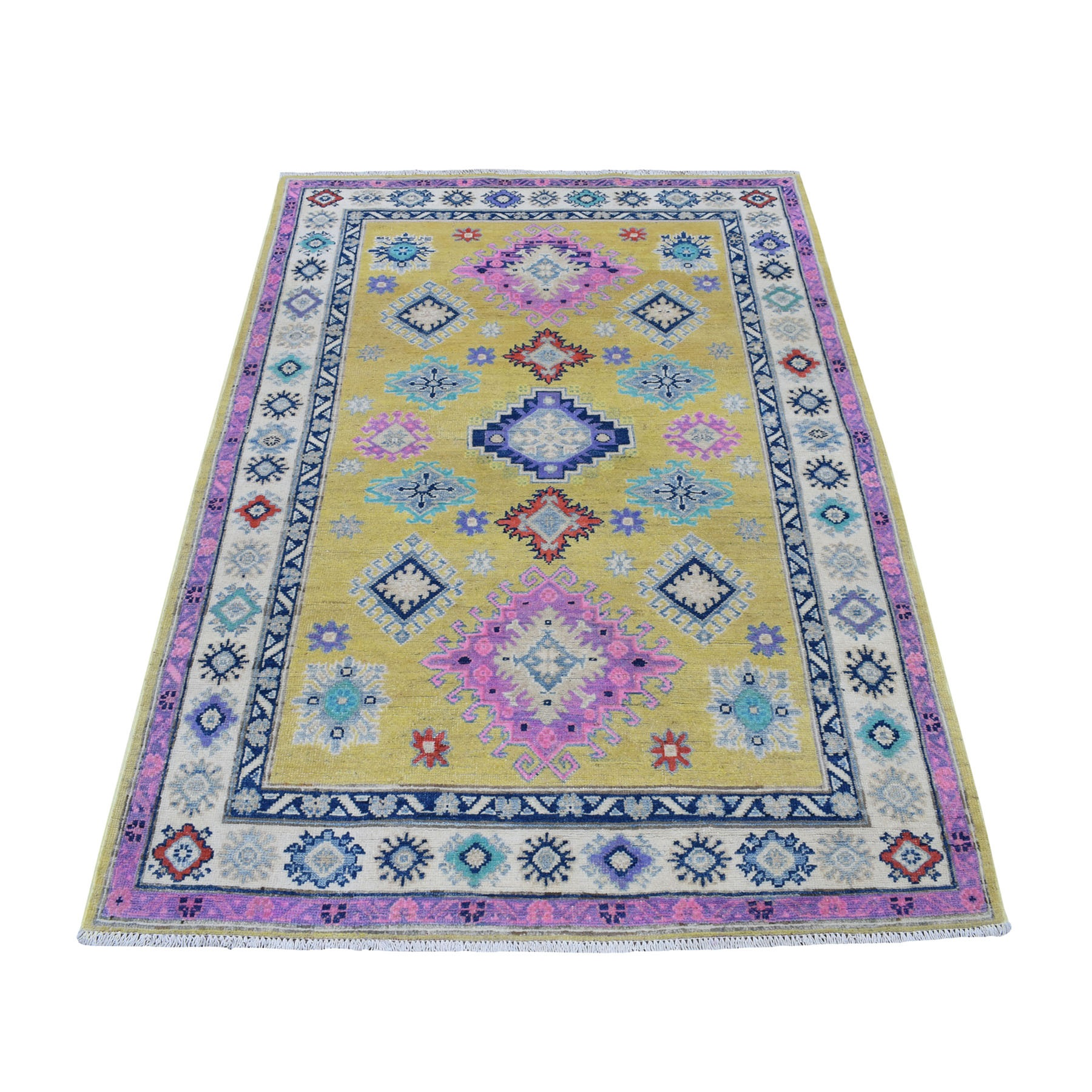 4'x6' Colorful Yellow Fusion Kazak Pure Wool Geometric Design Hand Woven Oriental Rug