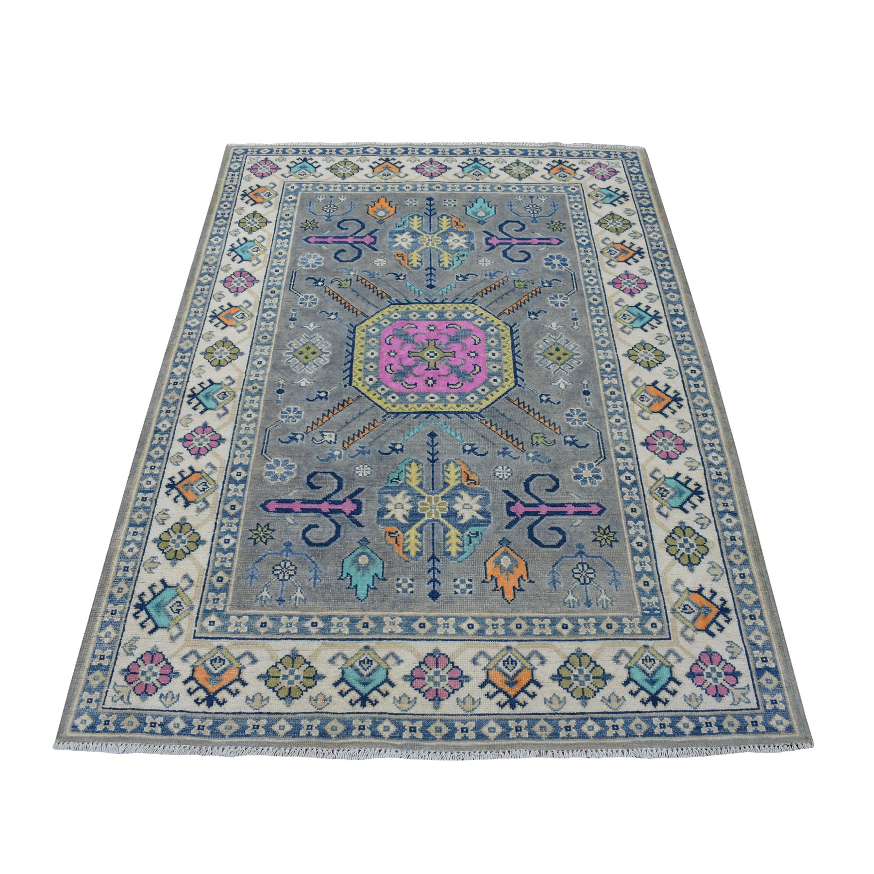 "4'2""x5'10"" Colorful Gray Fusion Kazak Pure Wool Geometric Design Hand Woven Oriental Rug"