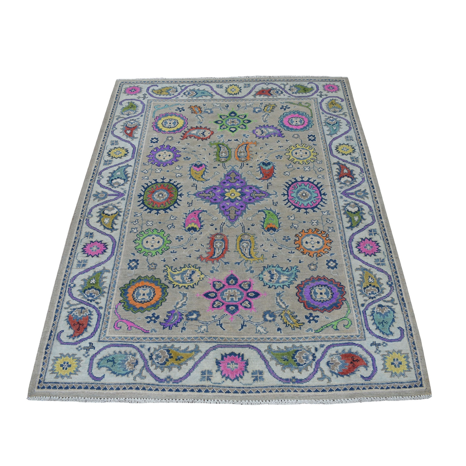"4'x5'9"" Colorful Gray Fusion Kazak Pure Wool Geometric Design Hand Woven Oriental Rug"