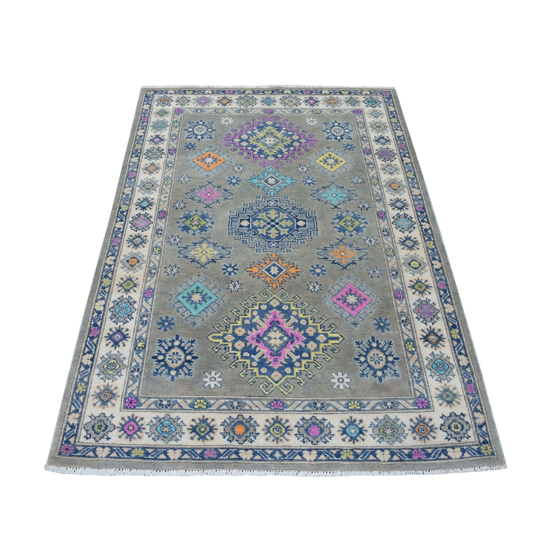 "3'10""x5'9"" Colorful Gray Fusion Kazak Pure Wool Geometric Design Hand Woven Oriental Rug"