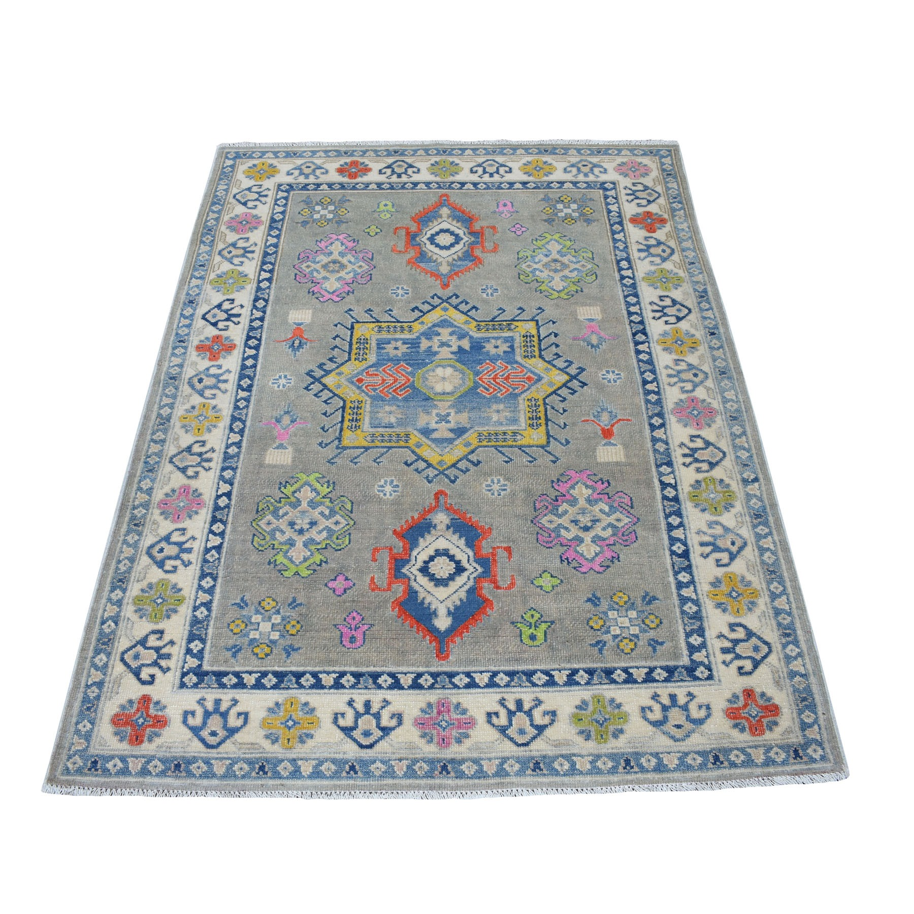 "4'x5'10"" Colorful Gray Fusion Kazak Pure Wool Geometric Design Hand Woven Oriental Rug"