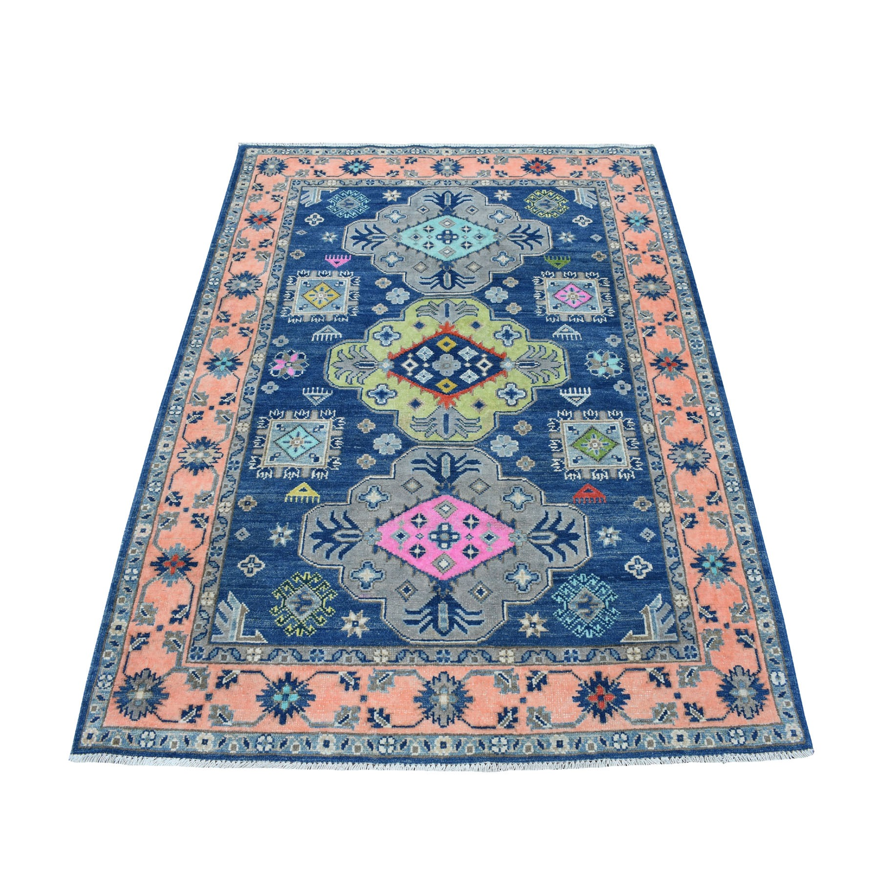 "4'1""x5'9"" Colorful Blue Fusion Kazak Pure Wool Geometric Design Hand Woven Oriental Rug"