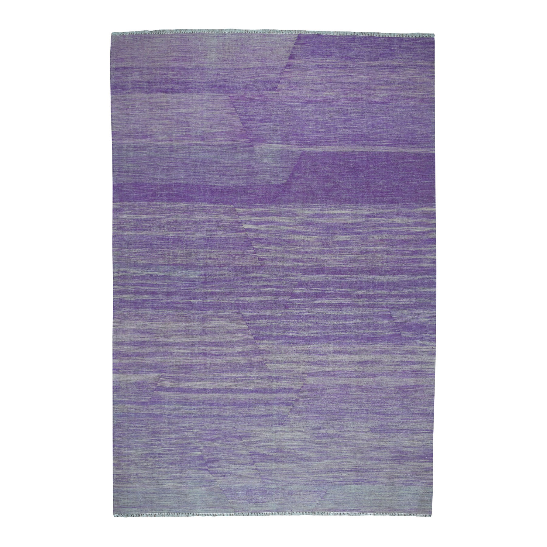 "6'10""x9'10"" Lavender Shades Flat Weave Kilim Pure Wool Hand Woven Oriental Rug"