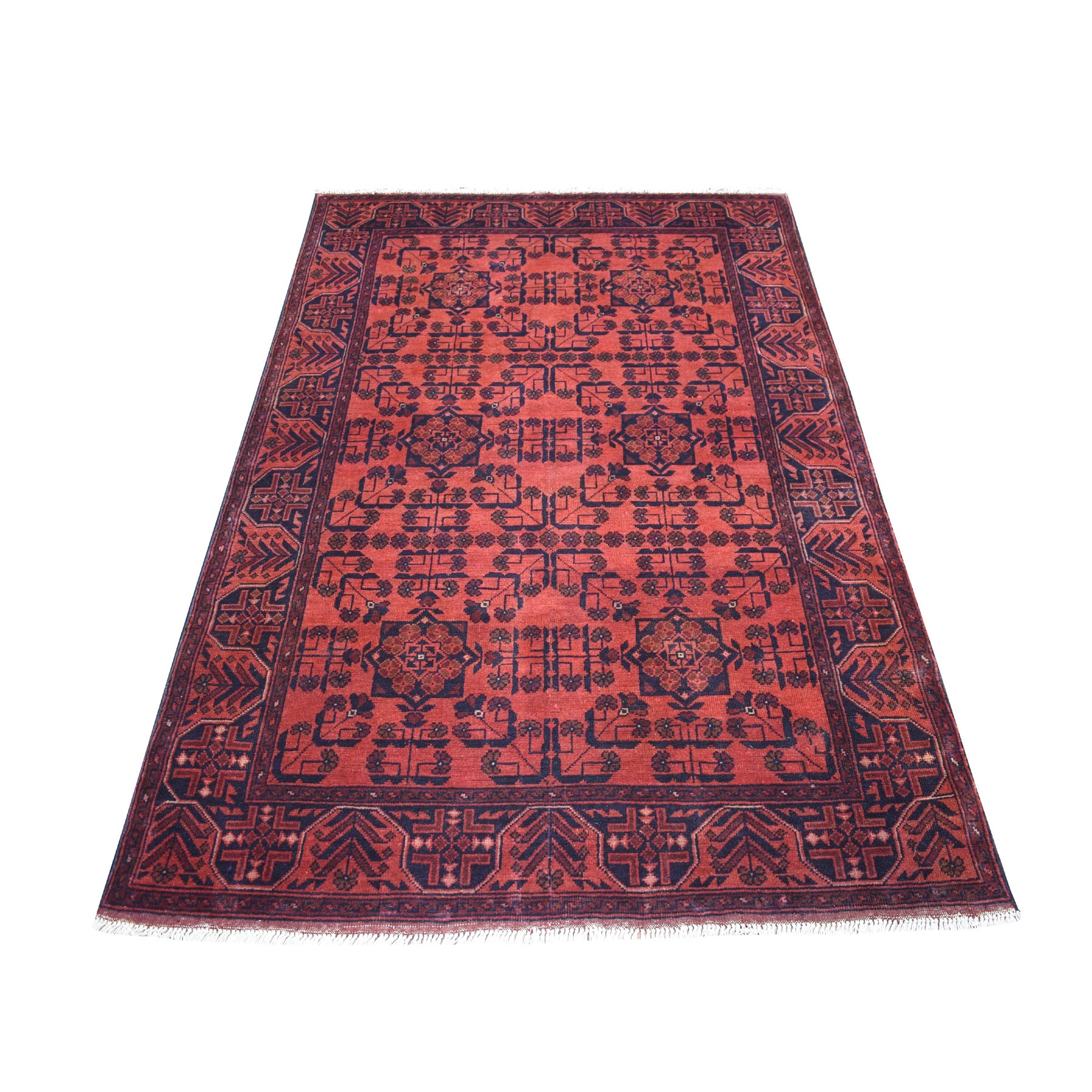 "4'2""x6'7"" Deep and Saturated Red Geometric Design Afghan Andkhoy Pure Wool Hand Woven Oriental Rug"