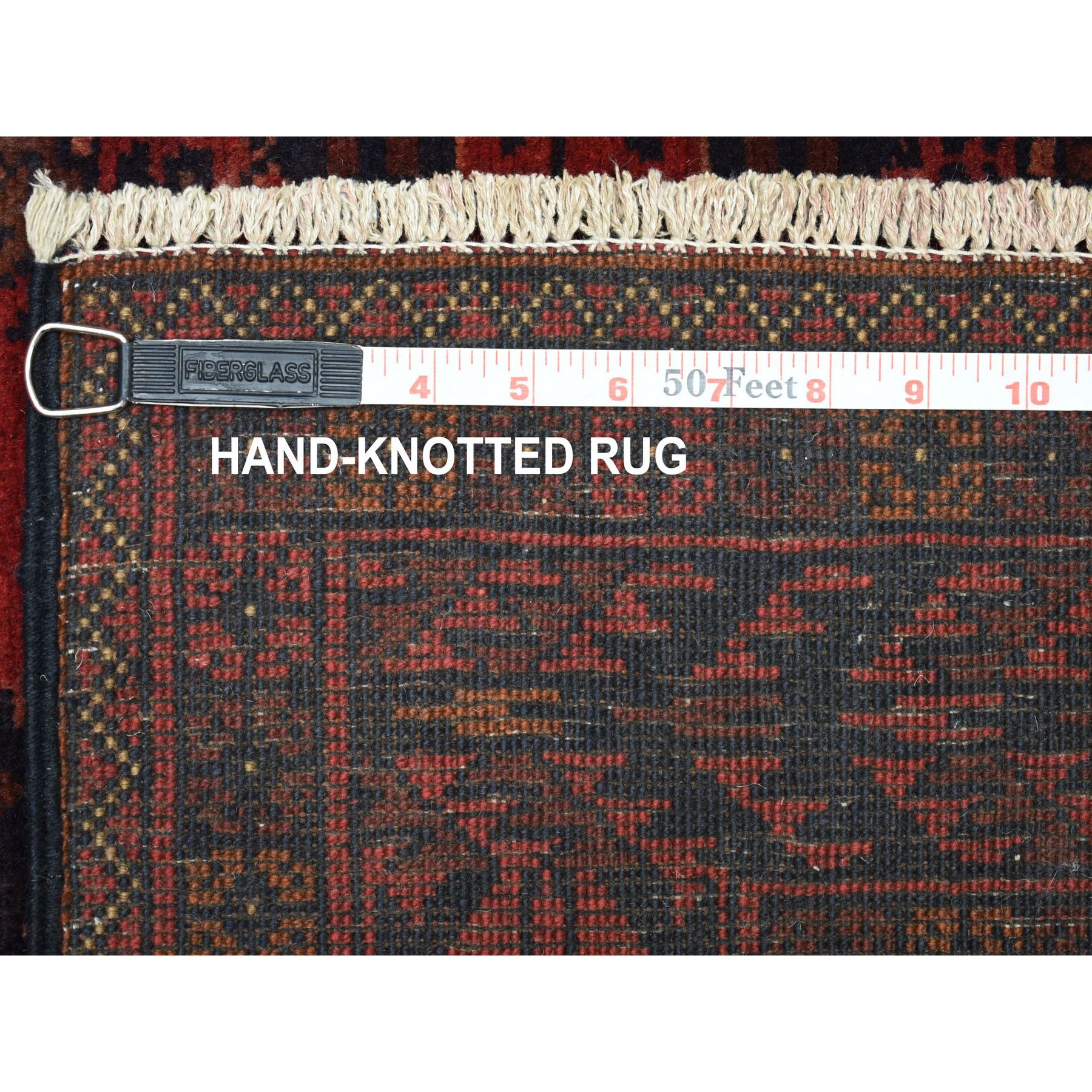 "3'5""x5' Deep and Saturated Red Geometric Design Afghan Andkhoy Pure Wool Hand Woven Oriental Rug"