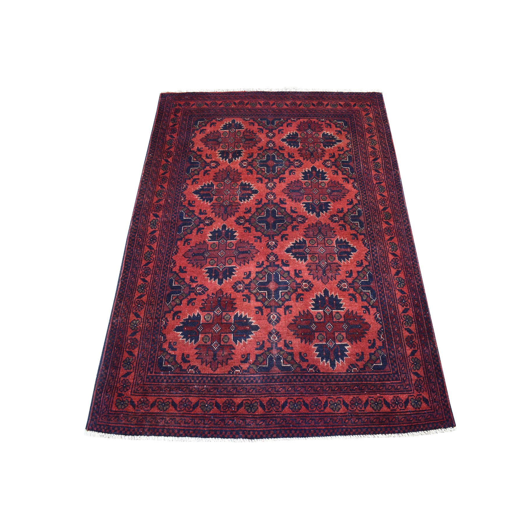 "3'4""x5' Deep and Saturated Red Geometric Design Afghan Andkhoy Pure Wool Hand Woven Oriental Rug"