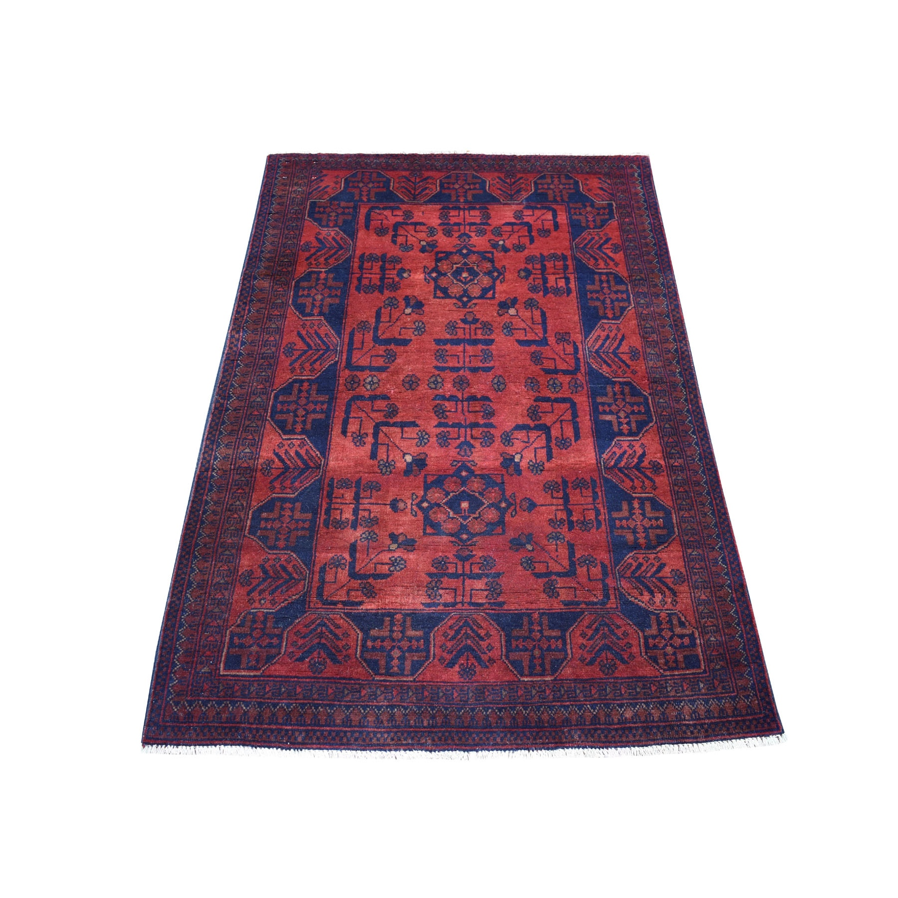 "3'3""x5'1"" Deep and Saturated Red Geometric Design Afghan Andkhoy Pure Wool Hand Woven Oriental Rug"