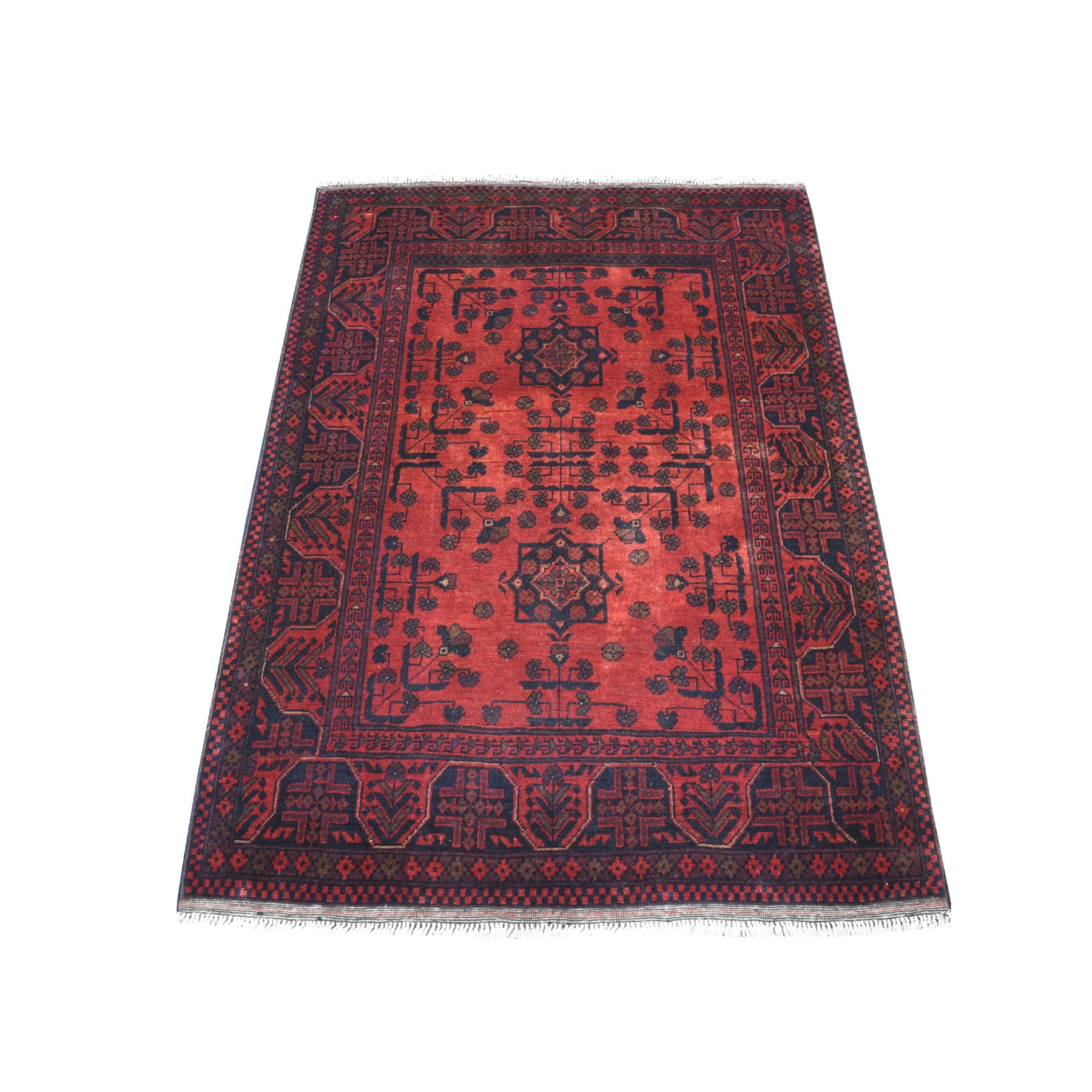 "3'6""x4'7"" Deep and Saturated Red Geometric Design Afghan Andkhoy Pure Wool Hand Woven Oriental Rug"