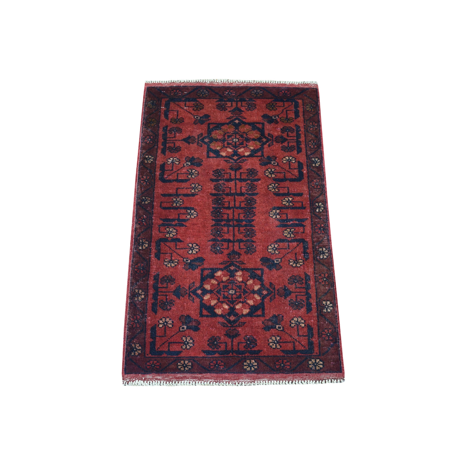 "1'9""x3' Deep and Saturated Red Geometric Design Afghan Andkhoy Pure Wool Hand Woven Oriental Rug"