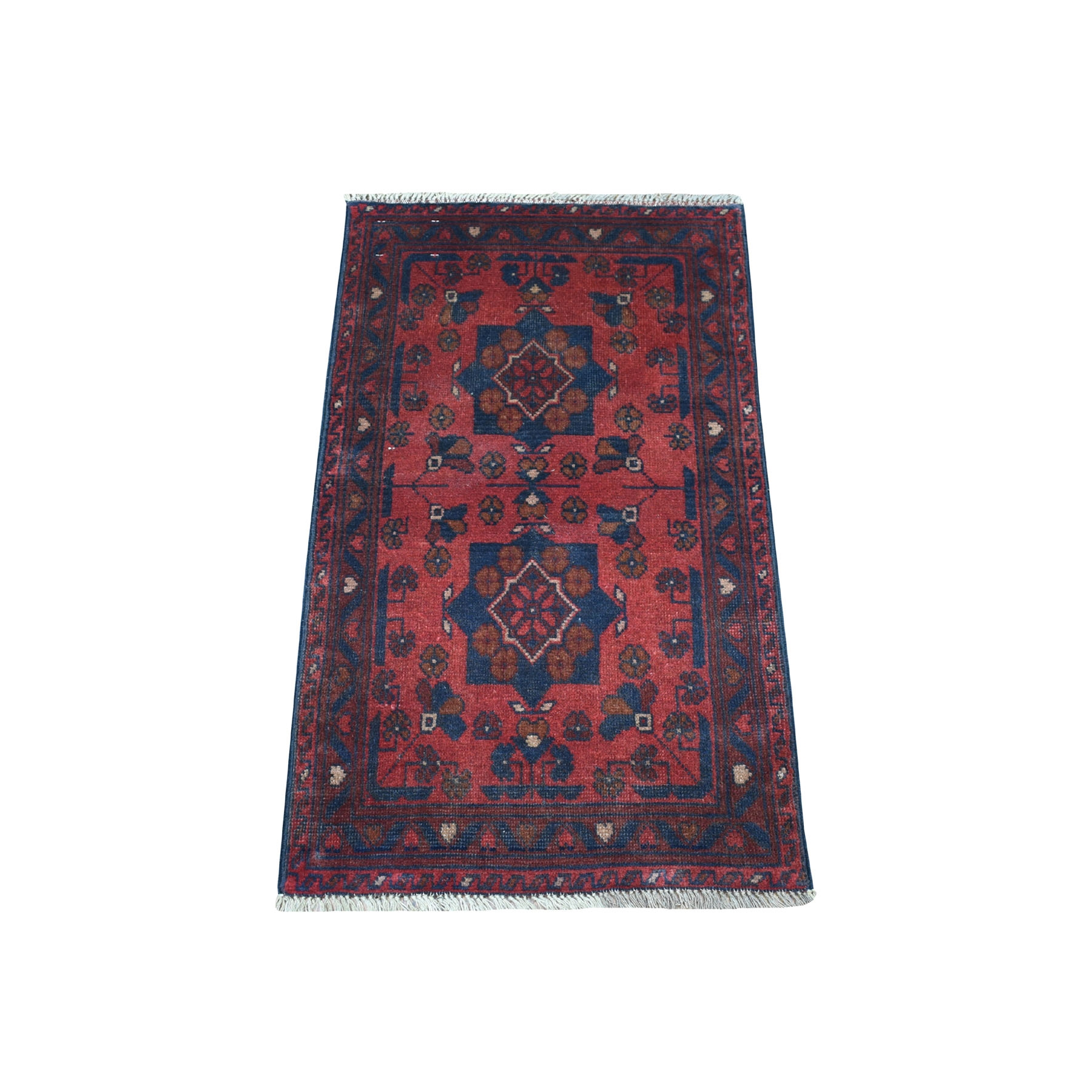 "1'8""x3'3"" Deep and Saturated Red Geometric Design Afghan Andkhoy Pure Wool Hand Woven Oriental Rug"