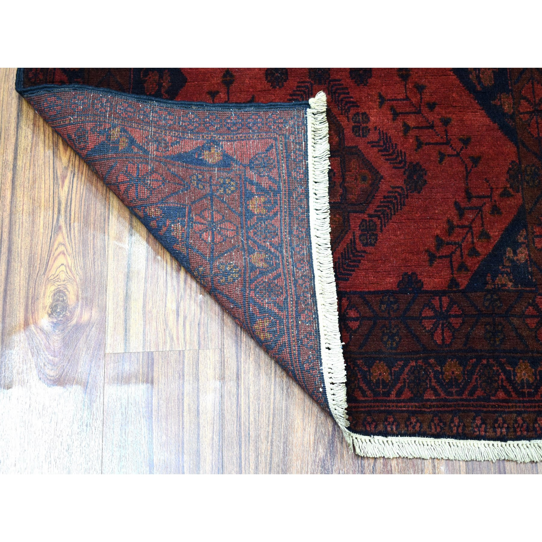 3'x6' Deep and Saturated Red Geometric Afghan Andkhoy Runner Pure Wool Hand Woven Oriental Rug