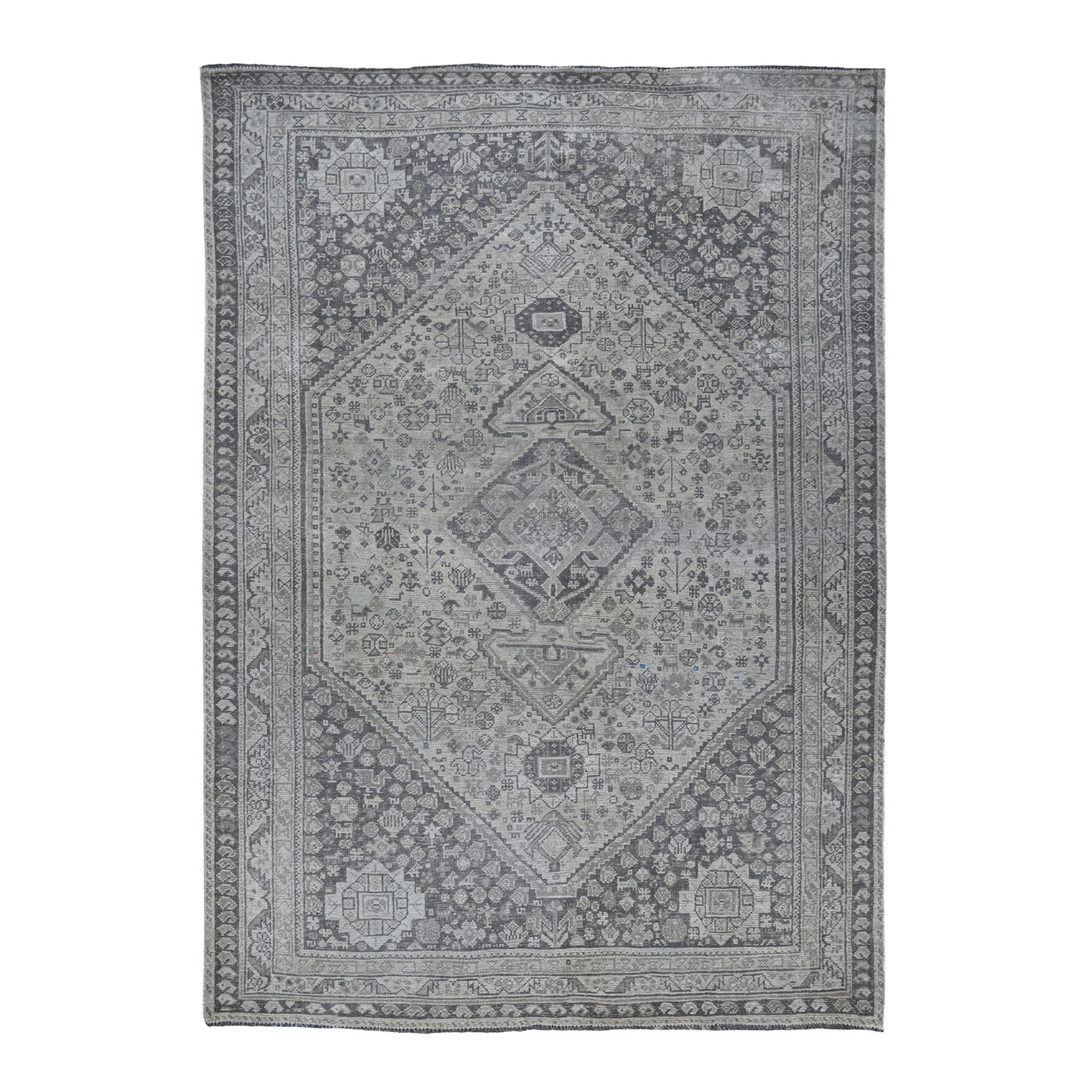 "6'10""x9'5"" Vintage And Worn Down Distressed Colors Persian Shiraz Hand Woven Bohemian Rug"