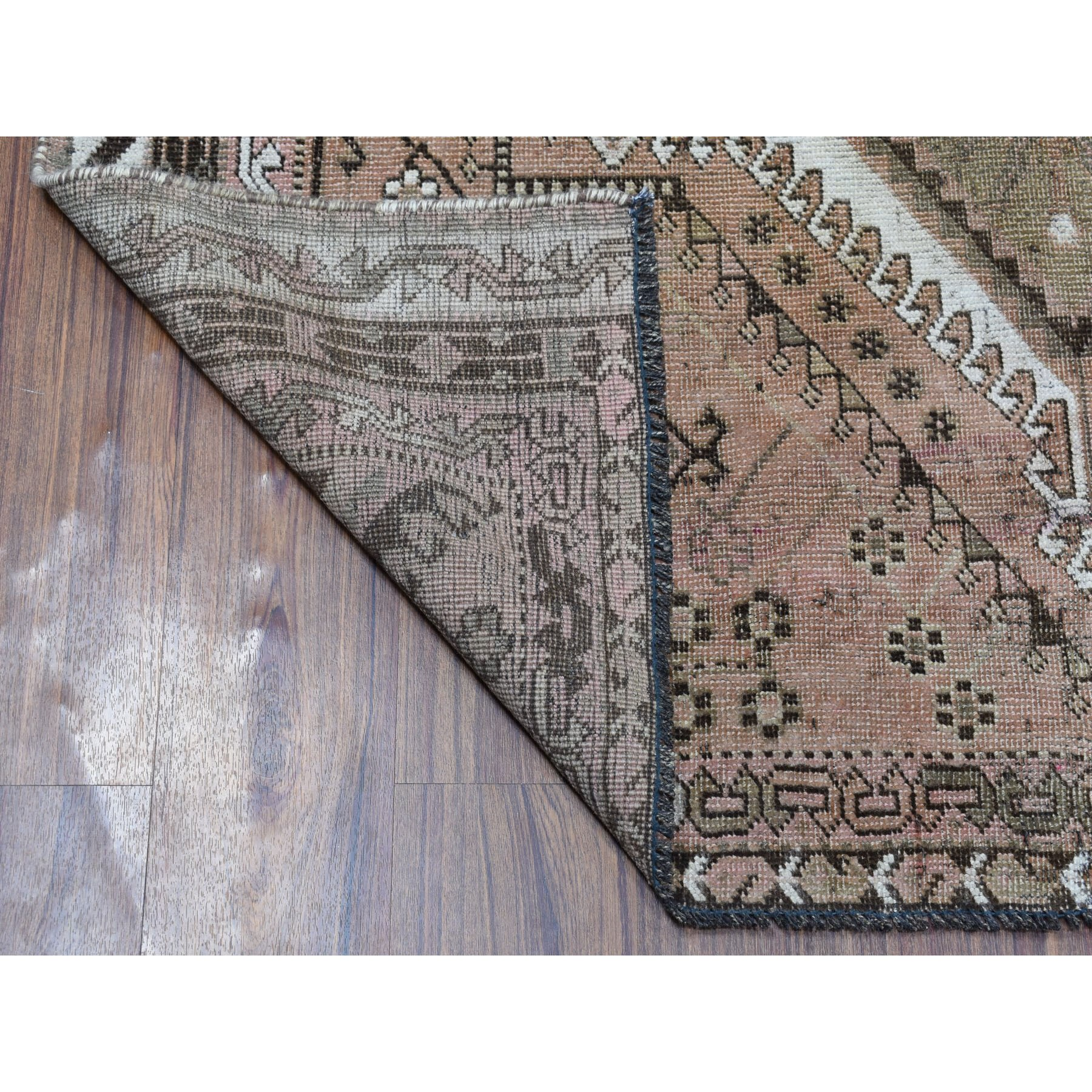 "4'9""x7'7"" Vintage And Worn Down Distressed Colors Persian Shiraz Hand Woven Bohemian Rug"