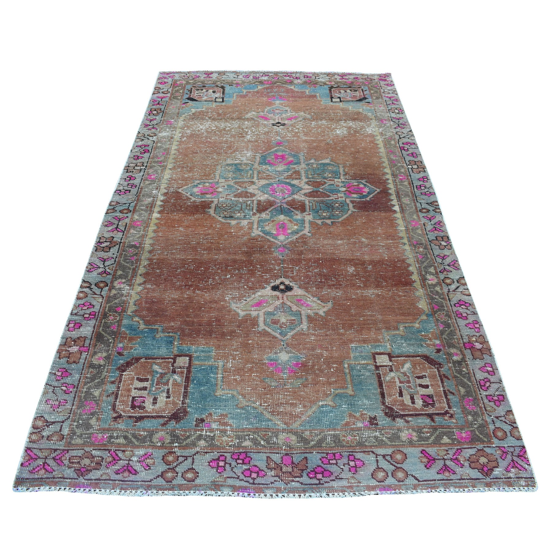 "4'6""x9' Vintage And Worn Down Wide Runner Persian Qashqai Hand Woven Bohemian Rug"