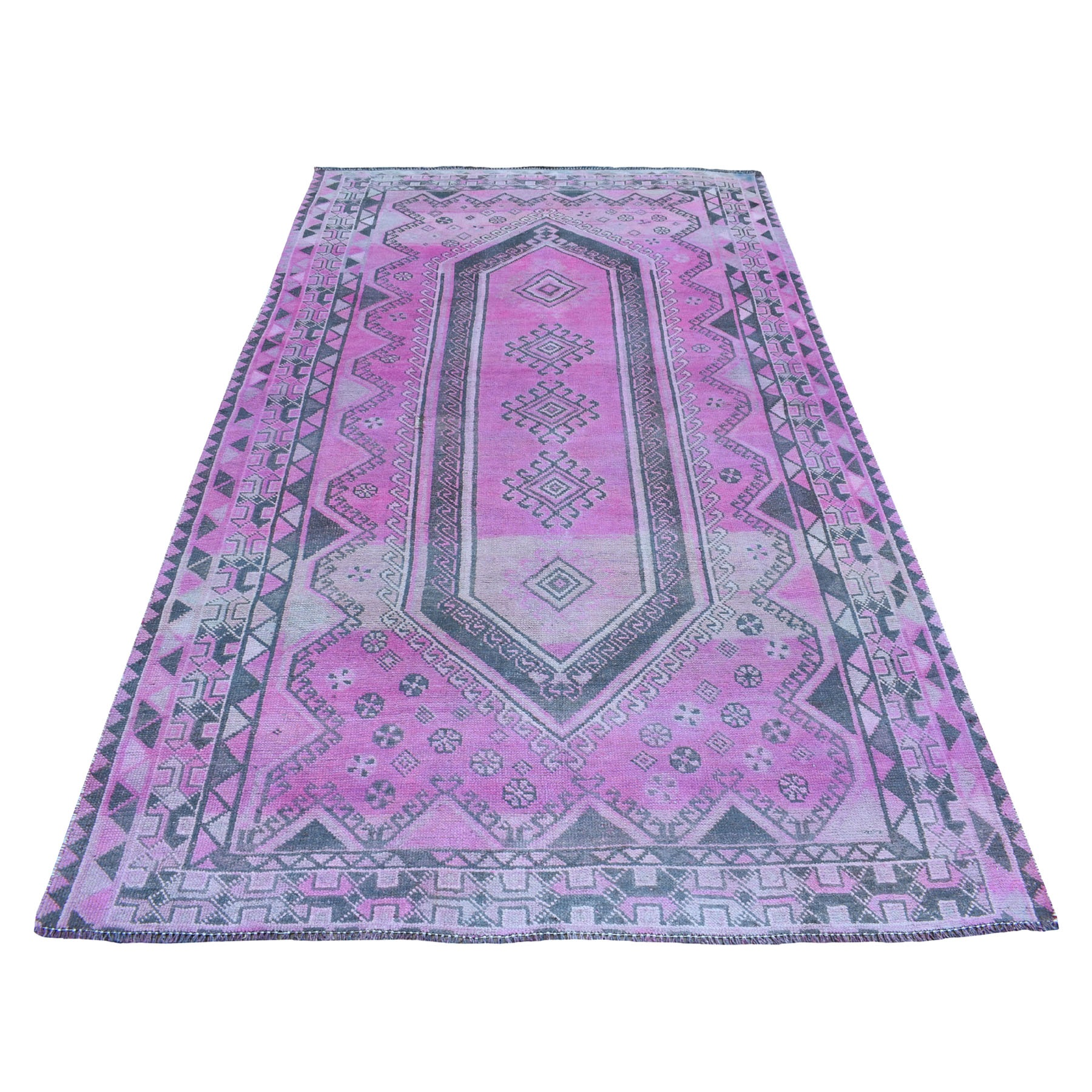 "5'x8'9"" Pink Vintage And Worn Down Overdyed Persian Shiraz Hand Woven Bohemian Rug"