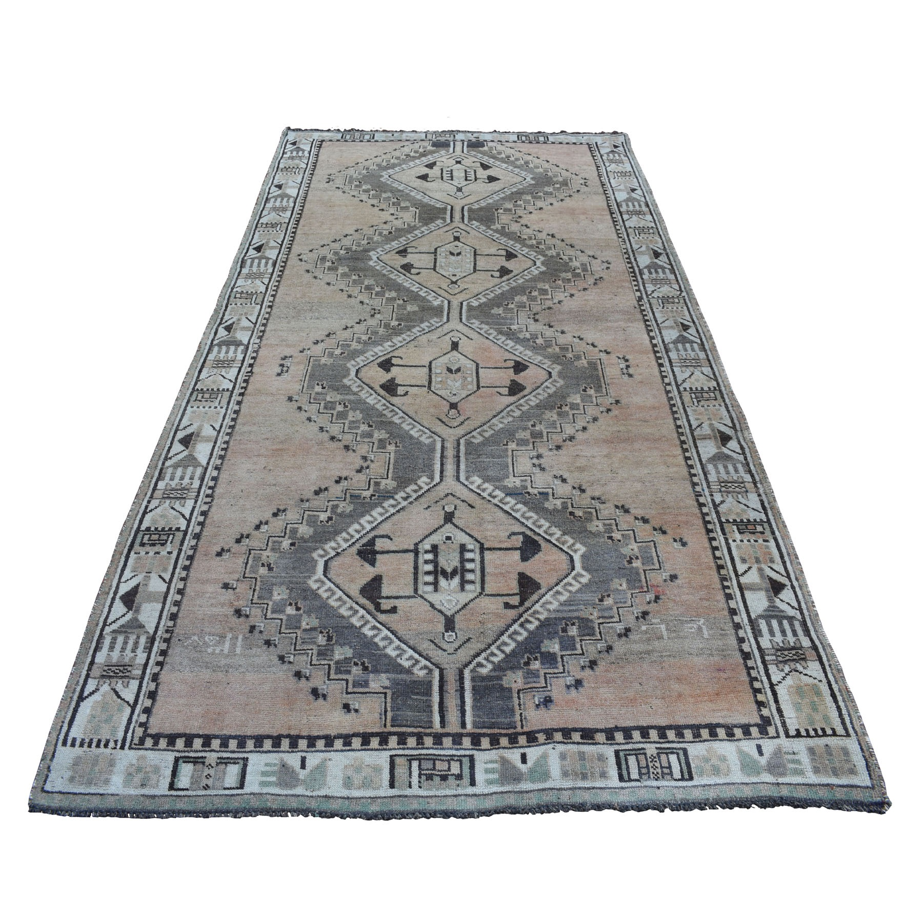 5'x10' Vintage And Worn Down Distressed Colors Persian Qashqai Wide Runner Hand Woven Bohemian Rug
