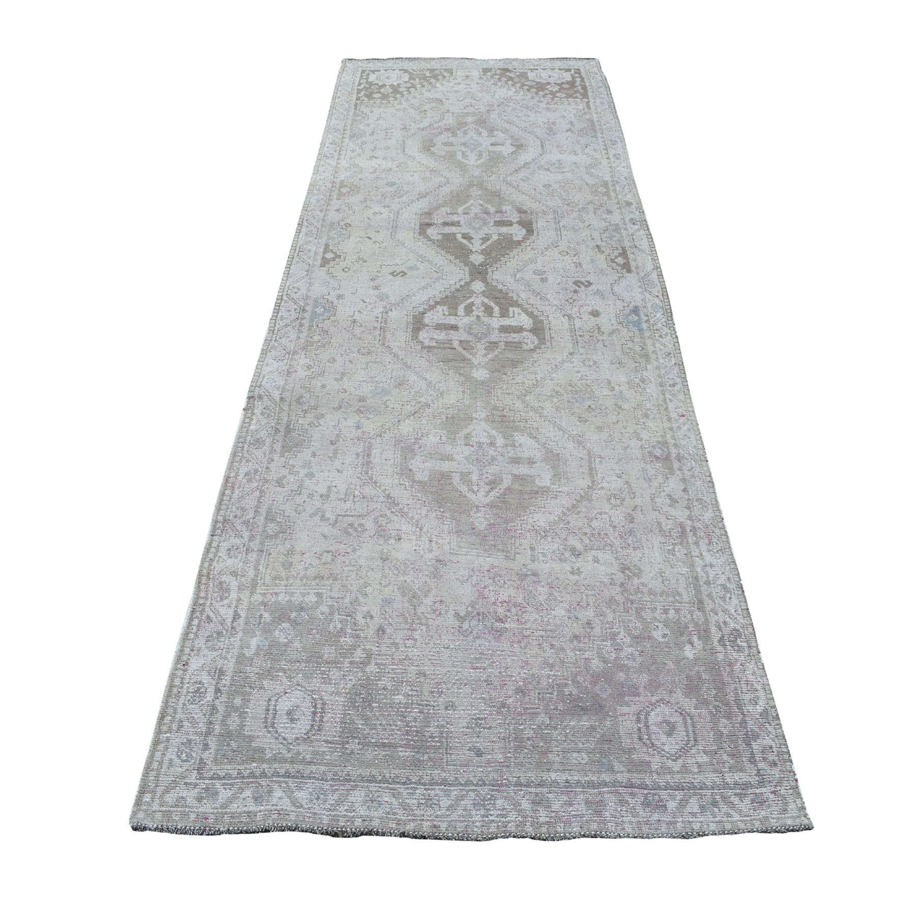 4'x11' Vintage And Worn Down Distressed Colors Persian Shiraz Wide Runner Hand Woven Bohemian Rug