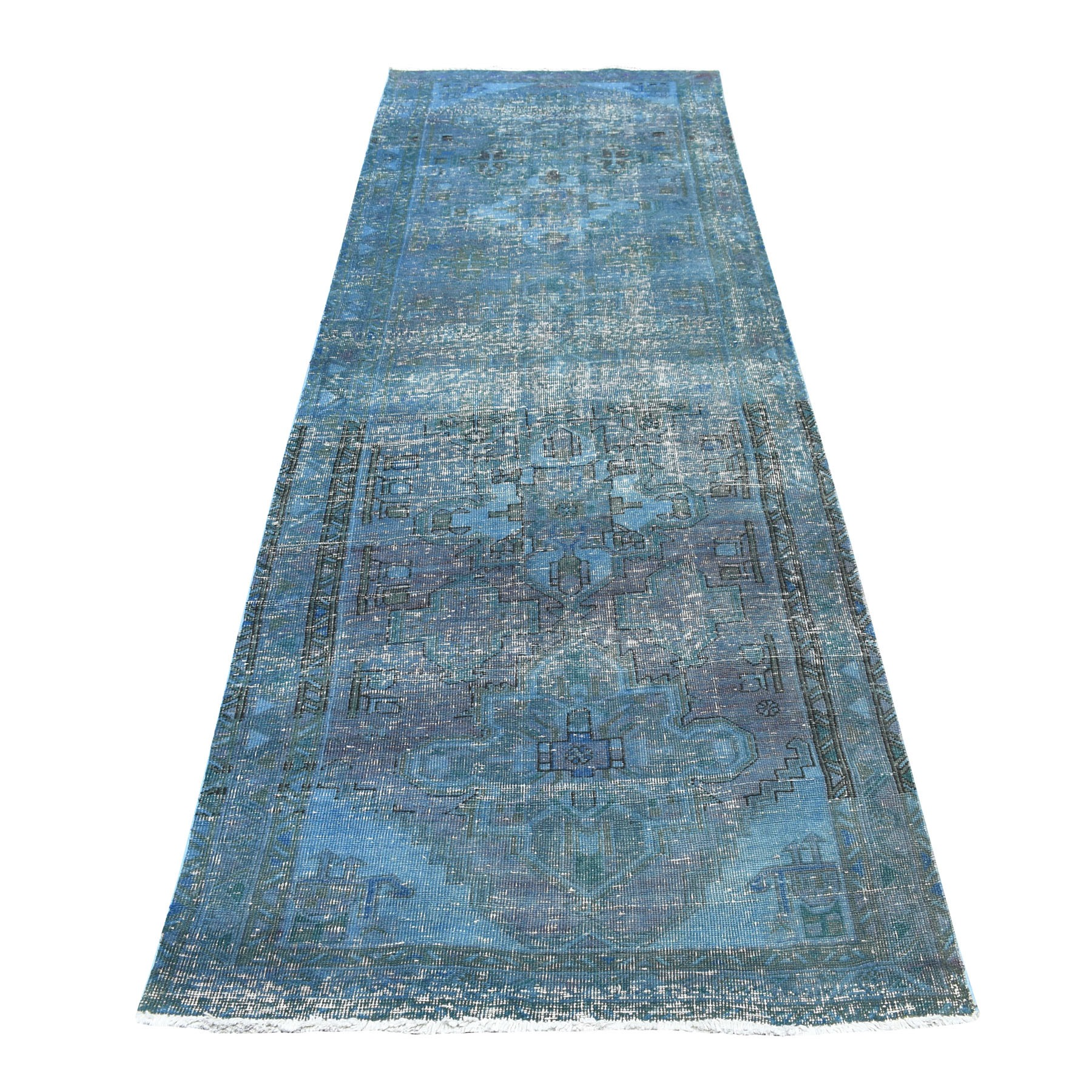 "3'5""x10'3"" Blue Vintage And Worn Down Wide Runner Overdyed Persian Qashqai Hand Woven Bohemian Rug"