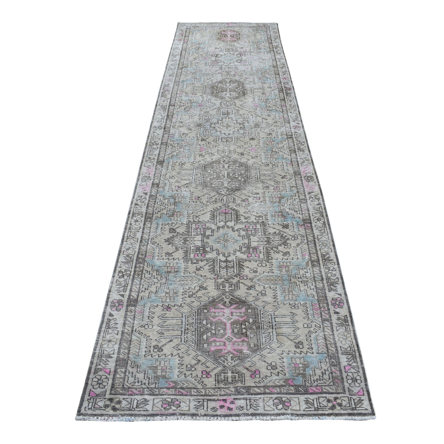 "3'1""x12'10"" Vintage Worn Runner With Pop Of Color Persian Karajeh Pure Wool Hand Woven Oriental Rug"