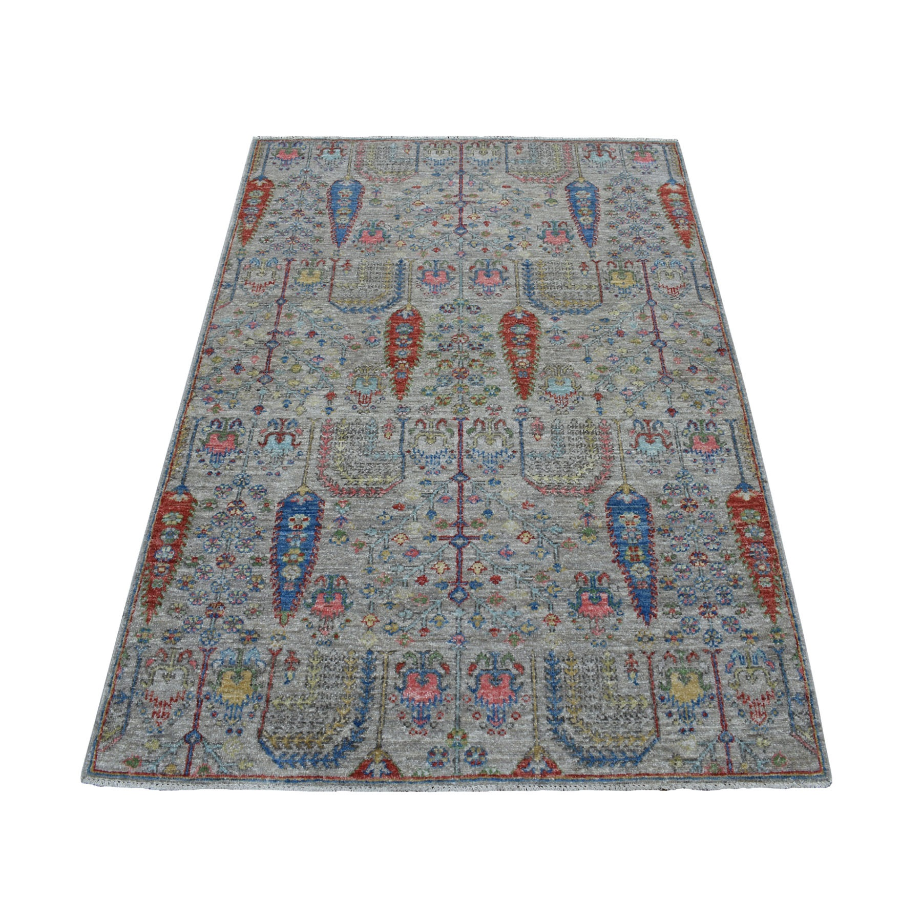 "3'9""x5'8"" Gray With Pop Of Color Willow And Cypress Tree Design Hand Woven Oriental Rug"
