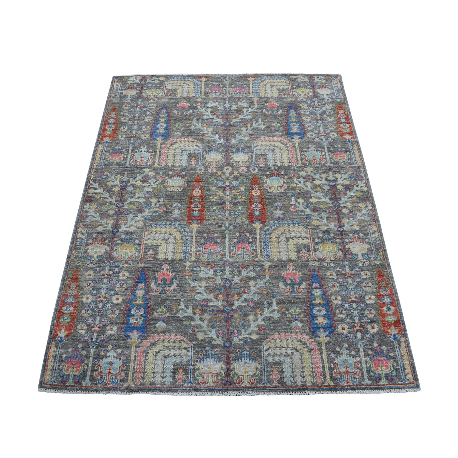 "4'x5'8"" Gray With Pop Of Color Willow And Cypress Tree Design Hand Woven Oriental Rug"