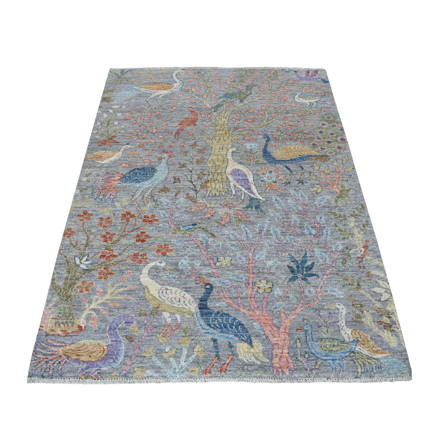 4'x6' Gray Birds of Paradise Peshawar Pure Wool Hand Woven Oriental Rug