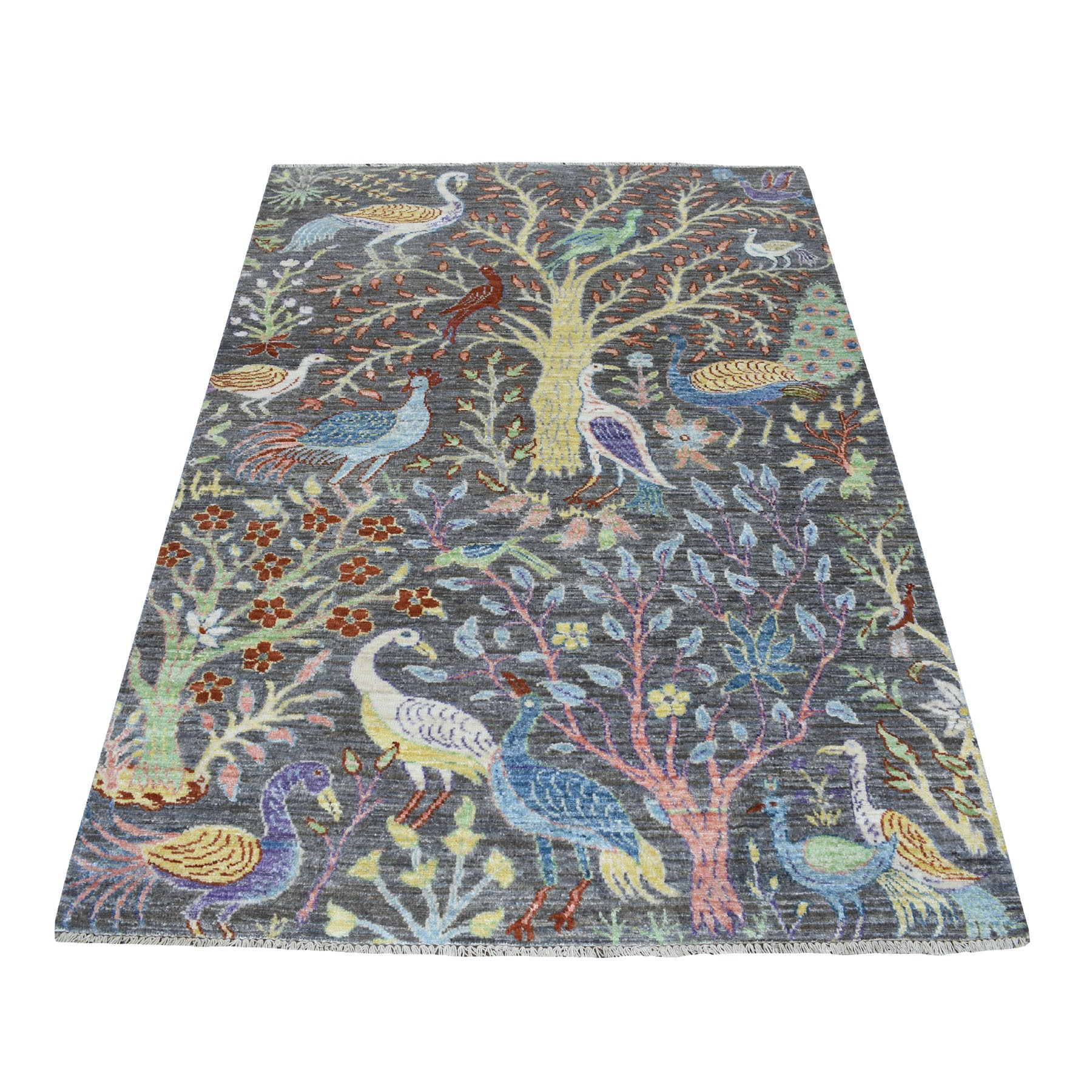 "4'x6'2"" Grey Birds of Paradise Peshawar Pure Wool Hand Woven Oriental Rug"