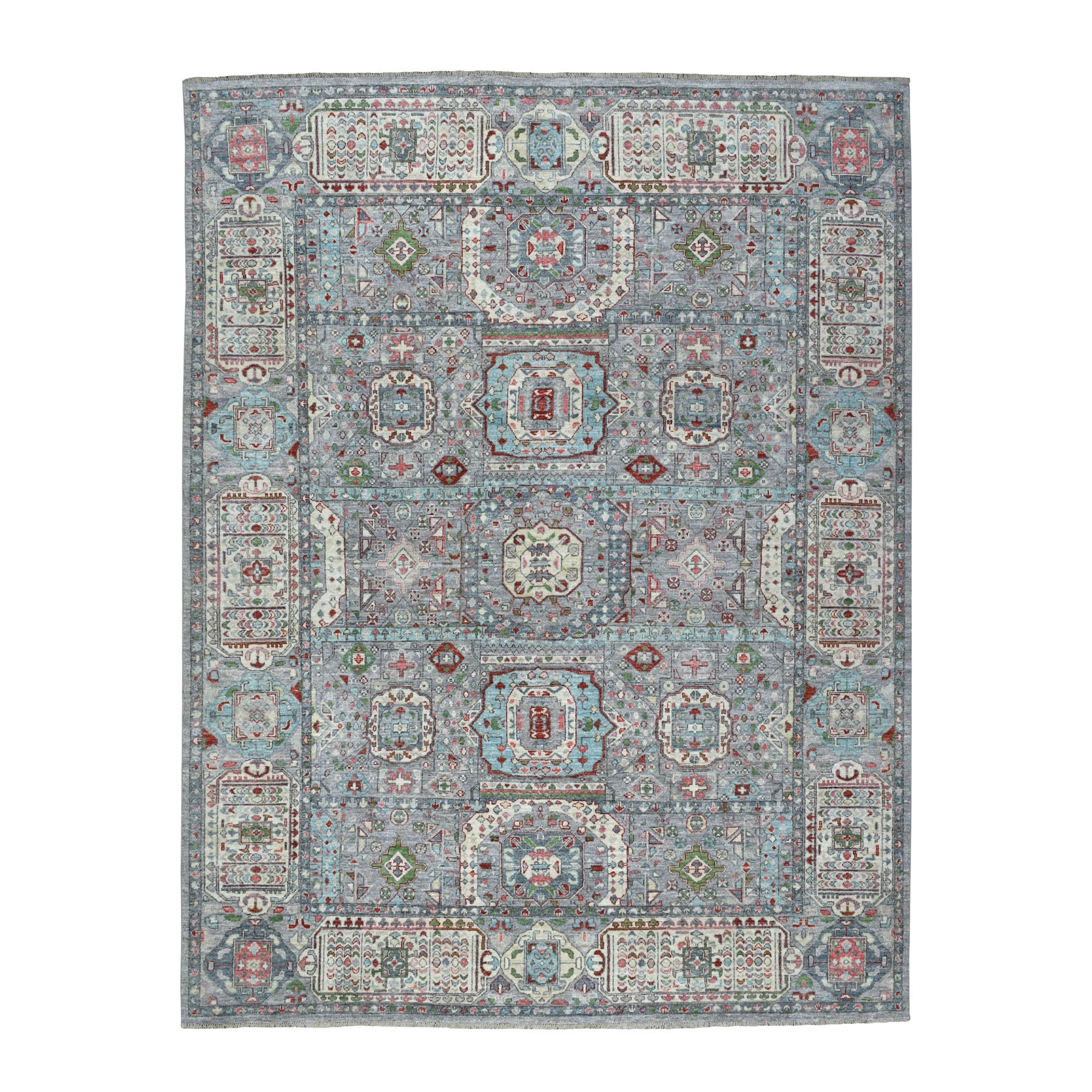 "7'10""x10'1"" Peshawar With Mamluk Design With Pop Of Color Hand Woven Oriental Rug"