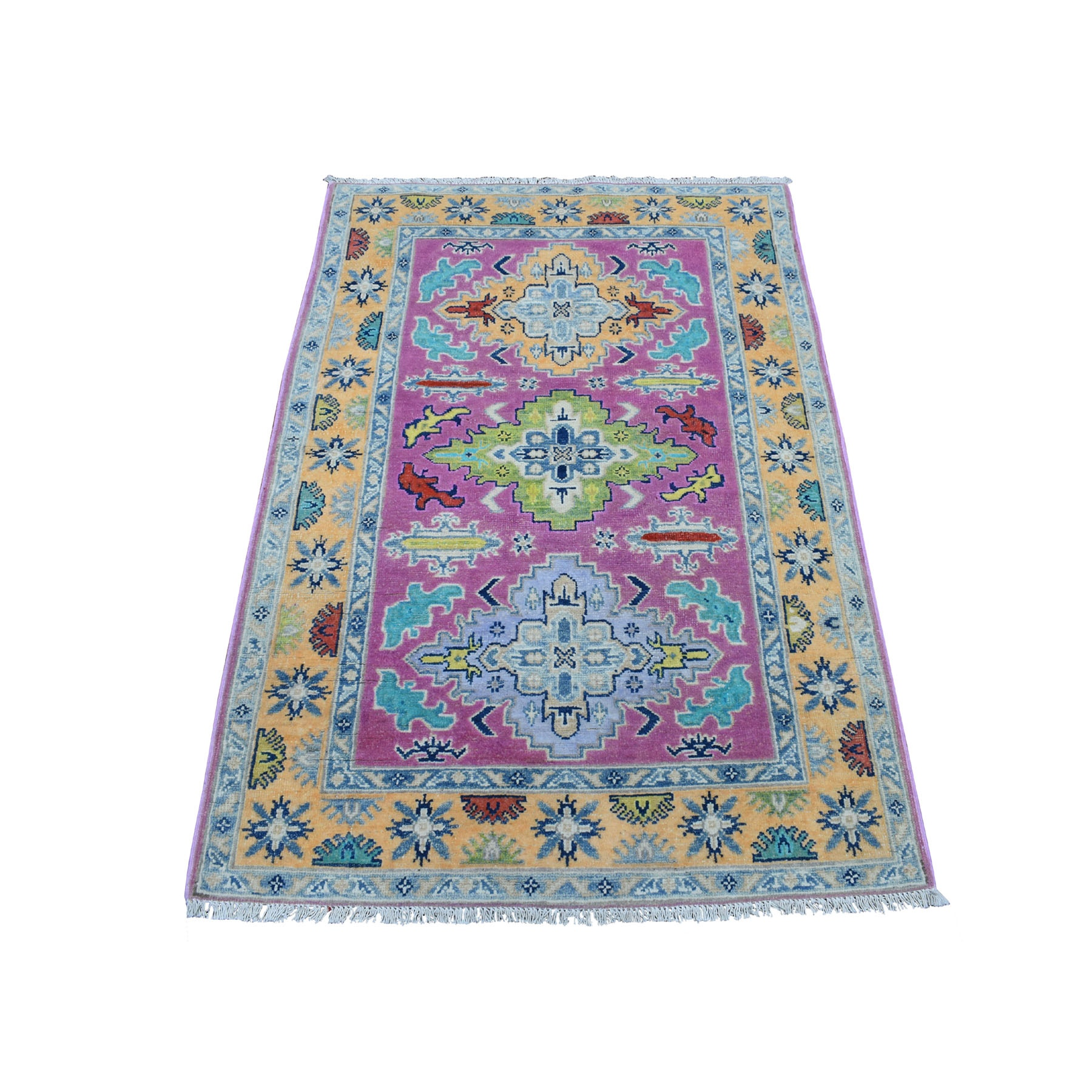 "3'4""x5' Colorful Pink Fusion Kazak Pure Wool Geometric Design Hand Woven Oriental Rug"