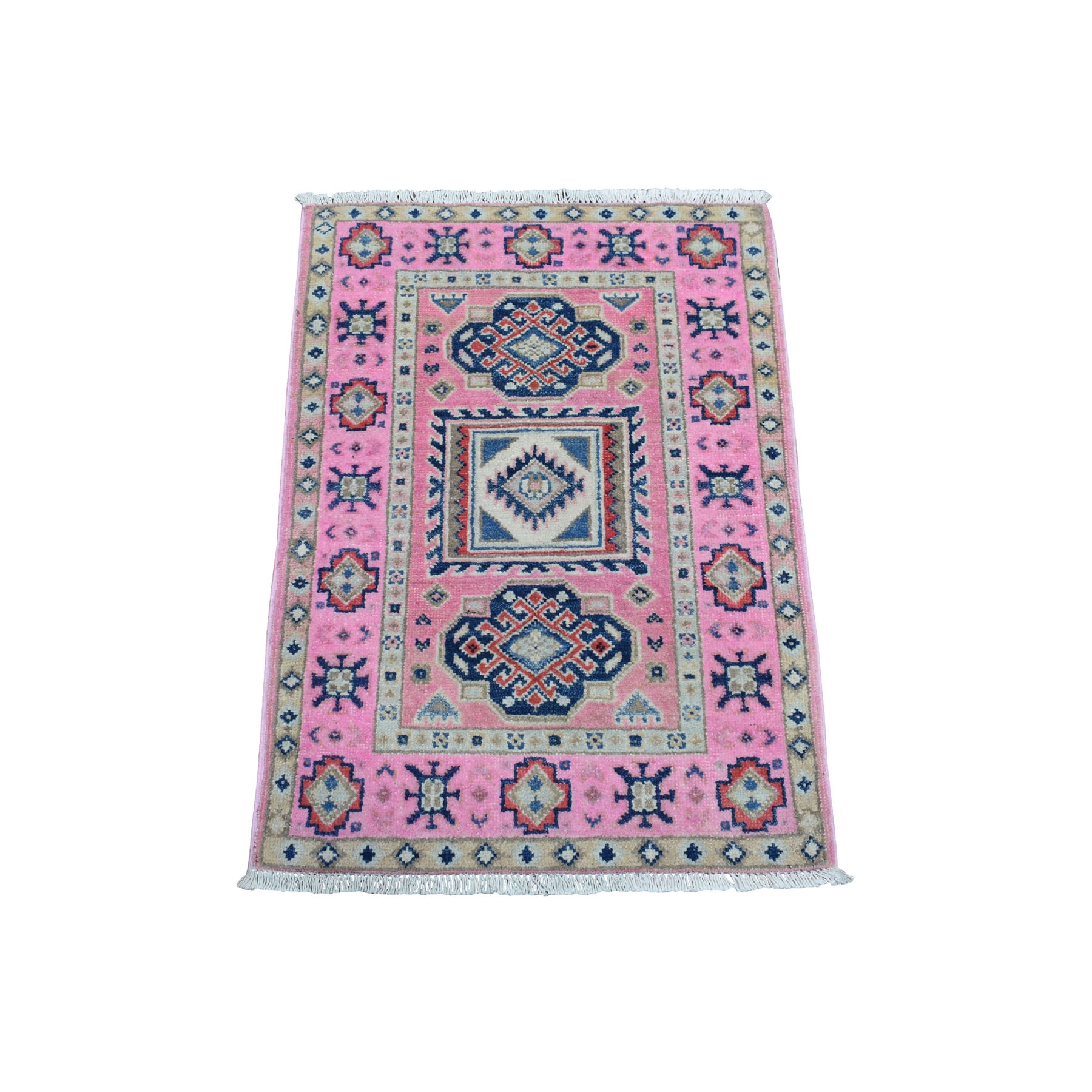 "2'1""x2'10"" Colorful Pink Fusion Kazak Pure Wool Geometric Design Hand Woven Oriental Rug"