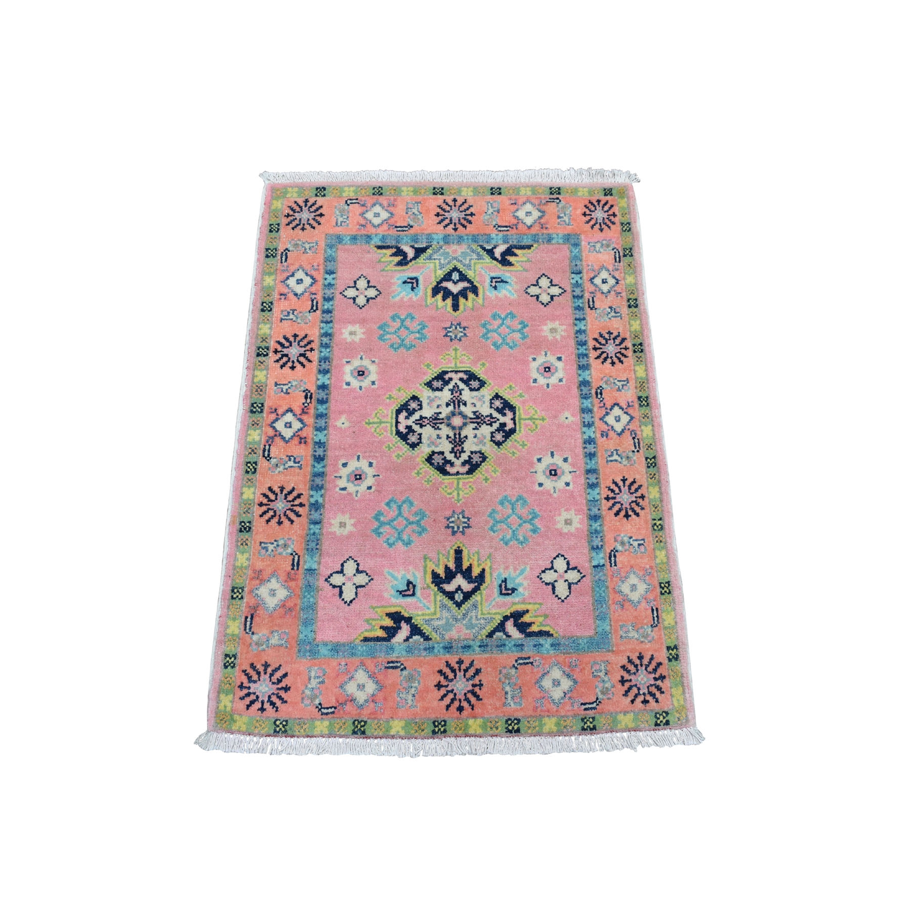 "2'x2'9"" Colorful Pink Fusion Kazak Pure Wool Geometric Design Hand Woven Oriental Rug"