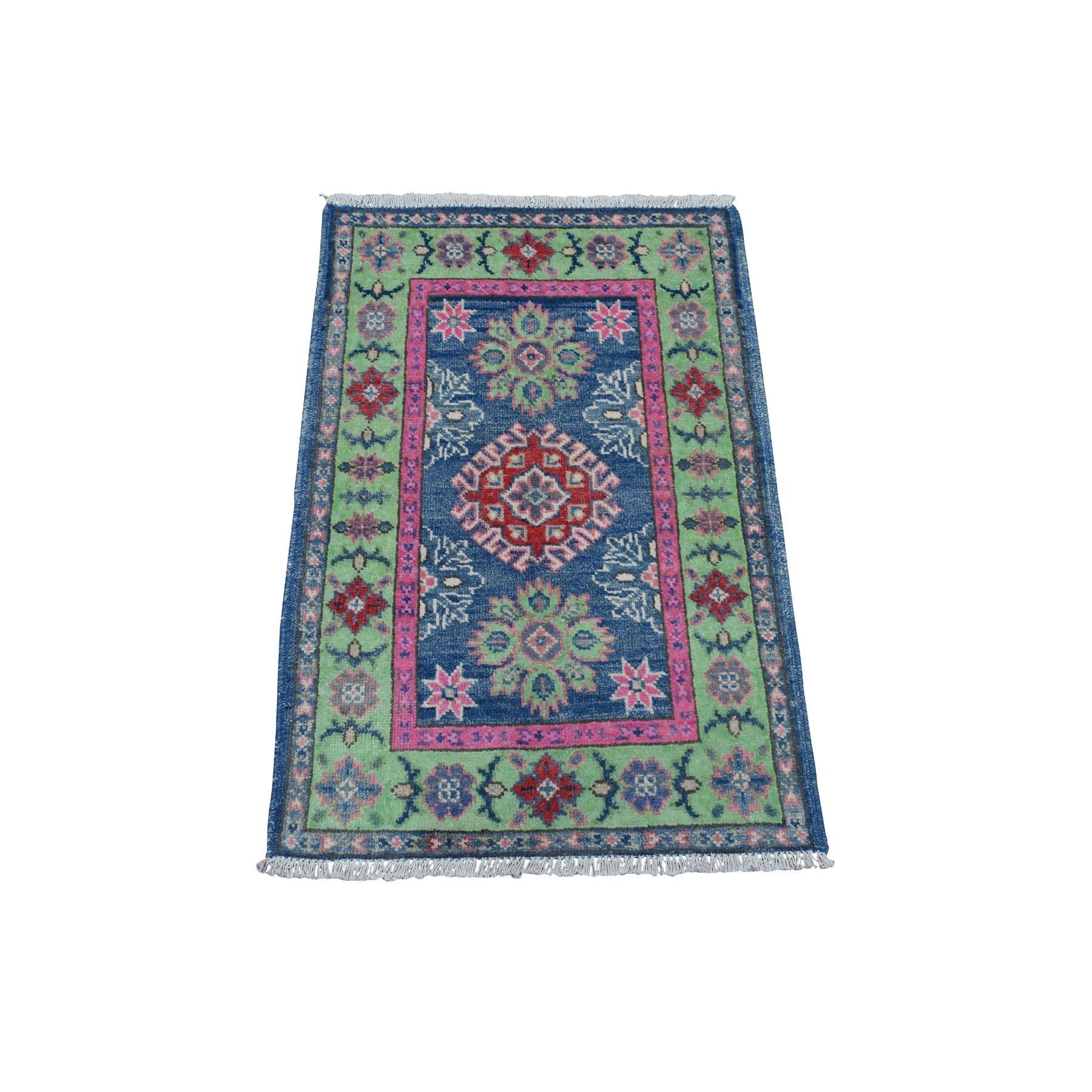 "2'x2'9""  Colorful Blue Fusion Kazak Pure Wool Geometric Design Hand Woven Oriental Rug"