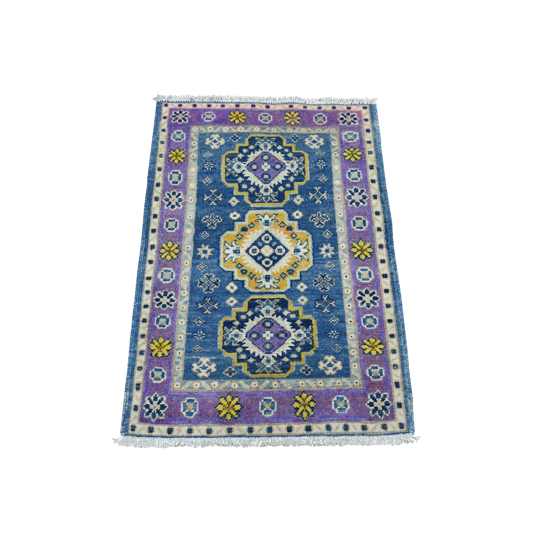 2'x3' Colorful Blue Fusion Kazak Pure Wool Geometric Design Hand Woven Oriental Rug