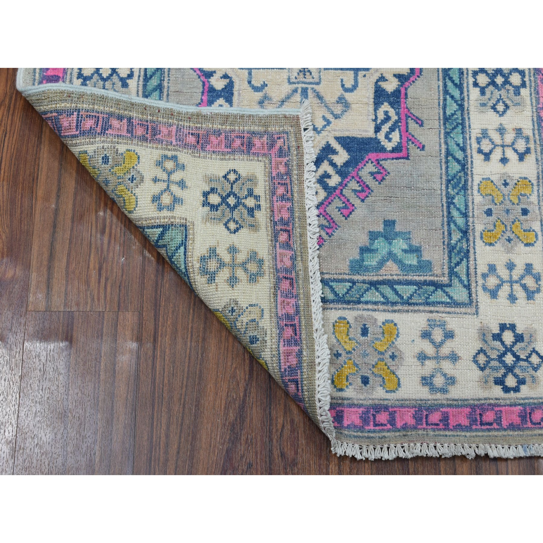 "2'8""x6'9"" Colorful Gray Fusion Kazak Pure Wool Hand Woven Runner Oriental Rug"