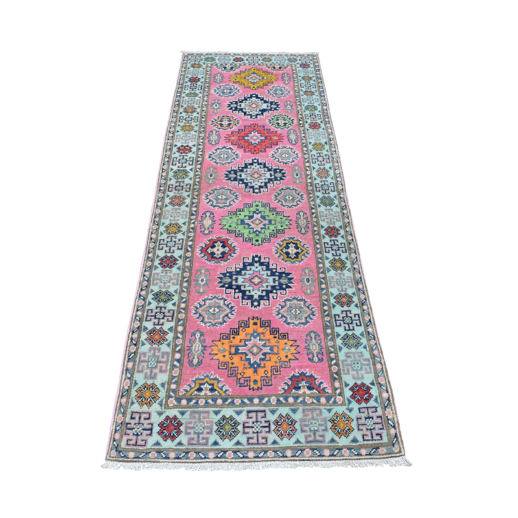 "2'7""x7'9"" Colorful Pink Fusion Kazak Pure Wool Geometric Design Runner Hand Woven Oriental Rug"