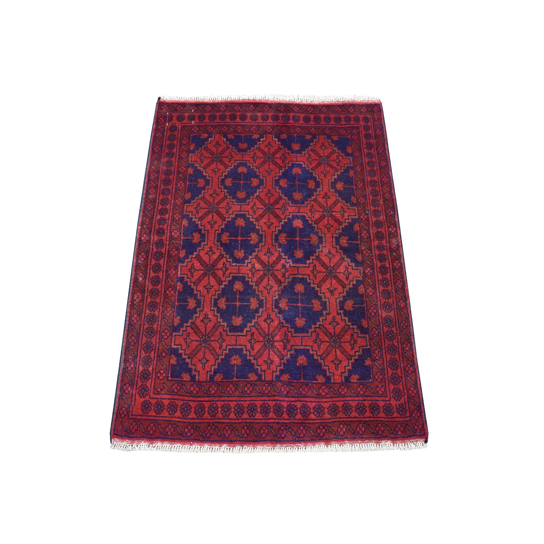 "2'8""x3'9"" Deep and Saturated Red Geometric Afghan Andkhoy Pure Wool Hand Woven Oriental Rug"