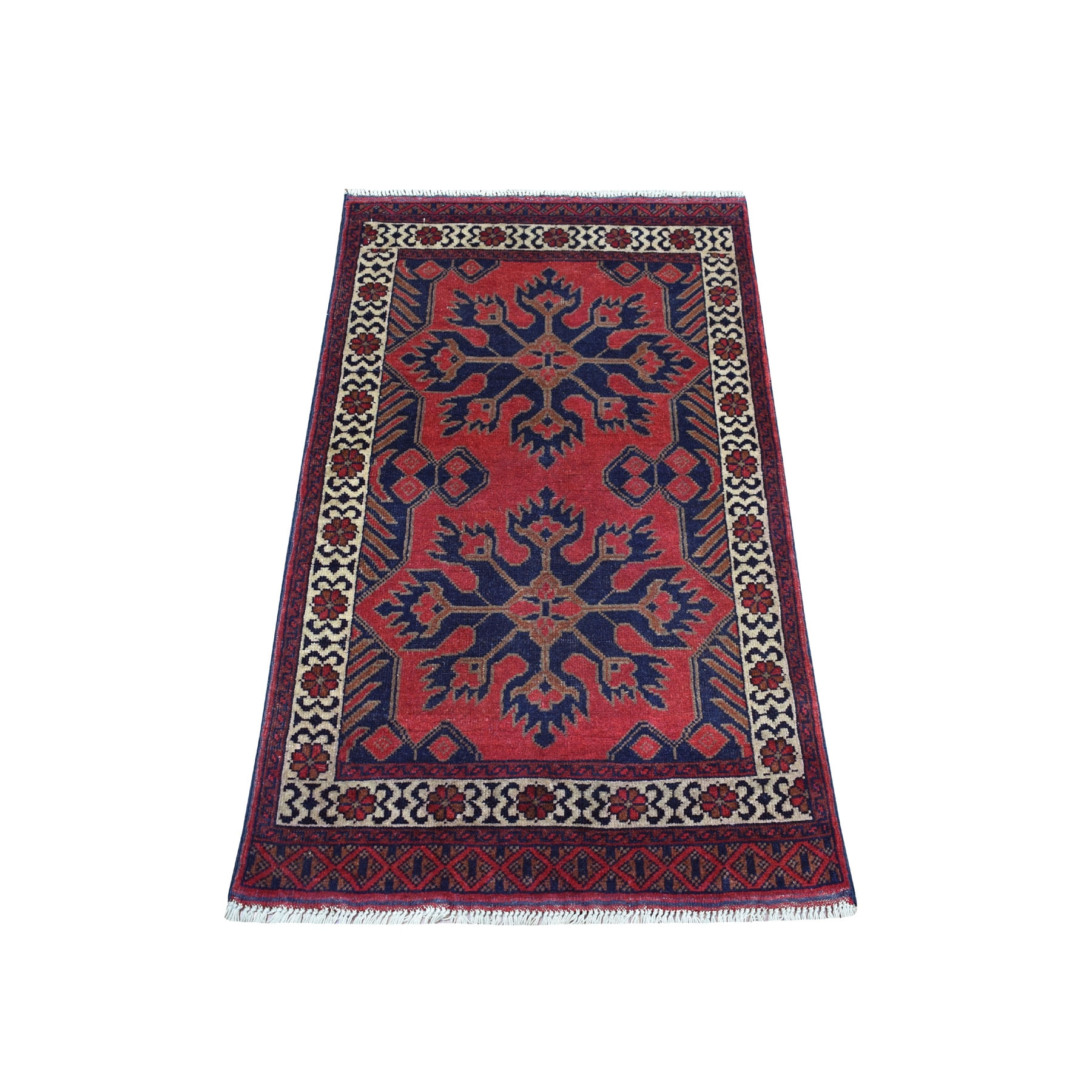 "2'4""x4' Deep and Saturated Red Tribal Afghan Andkhoy Pure Wool Hand Woven Oriental Rug"