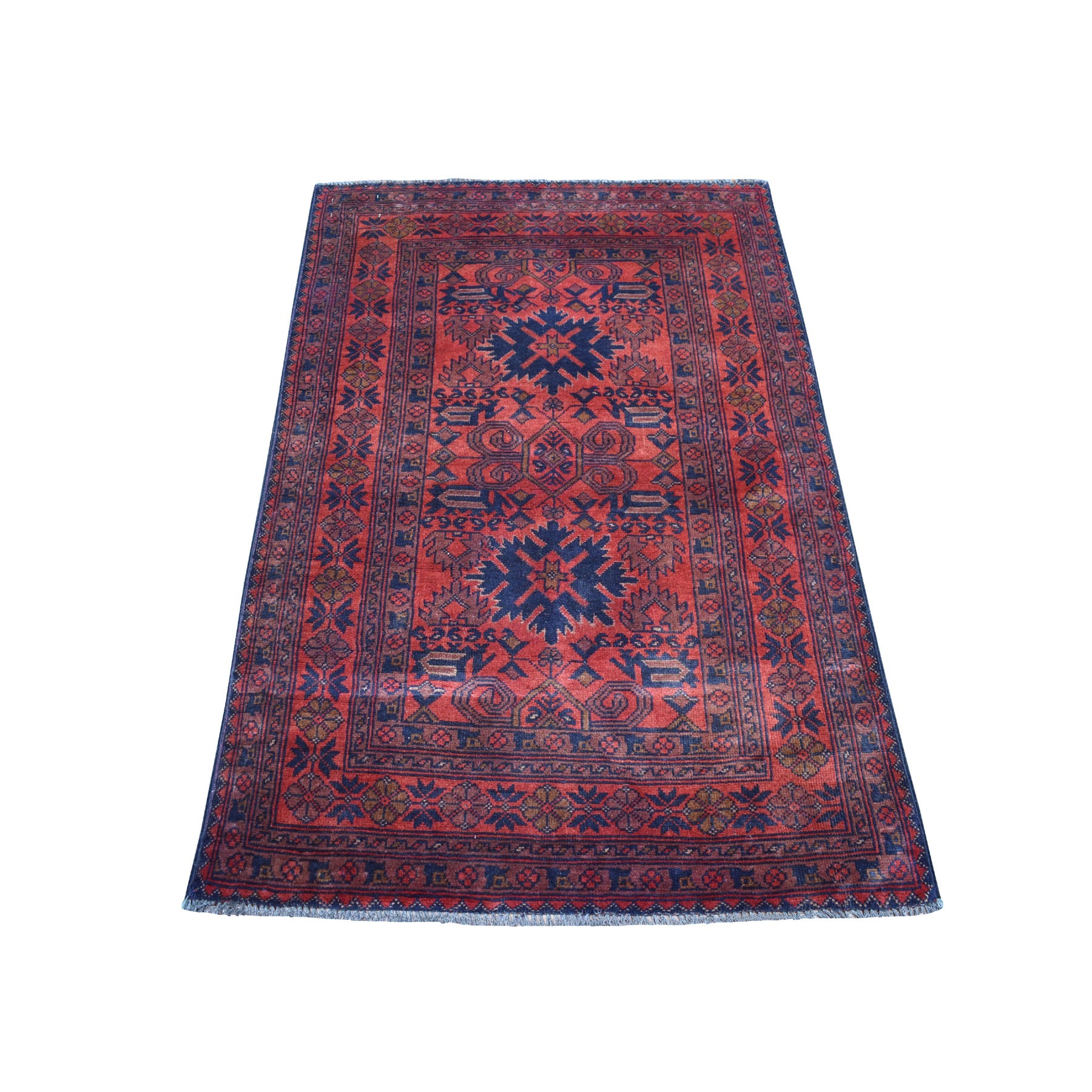 "3'x4'8"" Deep and Saturated Red Tribal Afghan Andkhoy Pure Wool Hand Woven Oriental Rug"